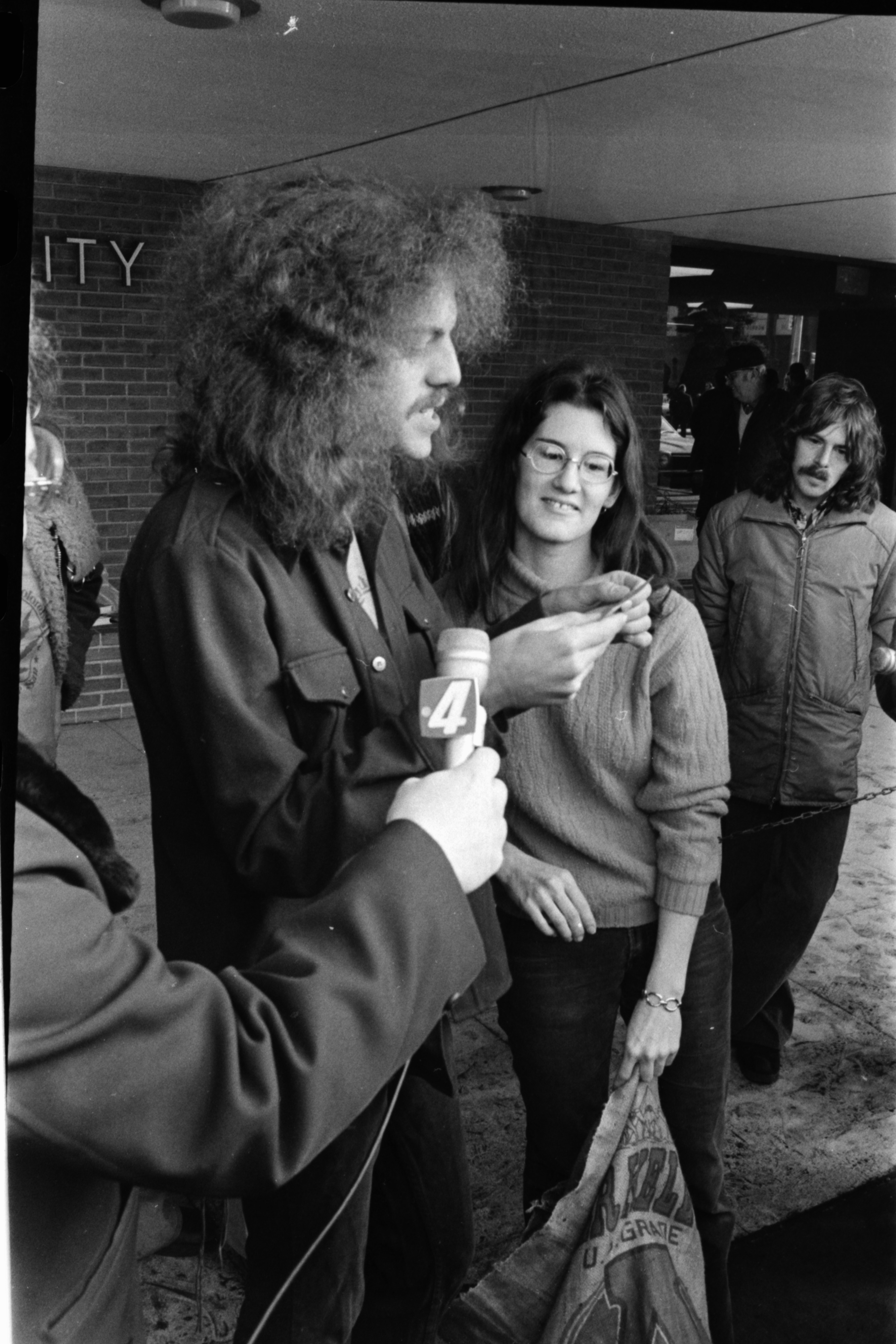 David Fenton Reads Statement at Drawing for Free Pot Giveaway, Ann Arbor City Hall, January 1975 image
