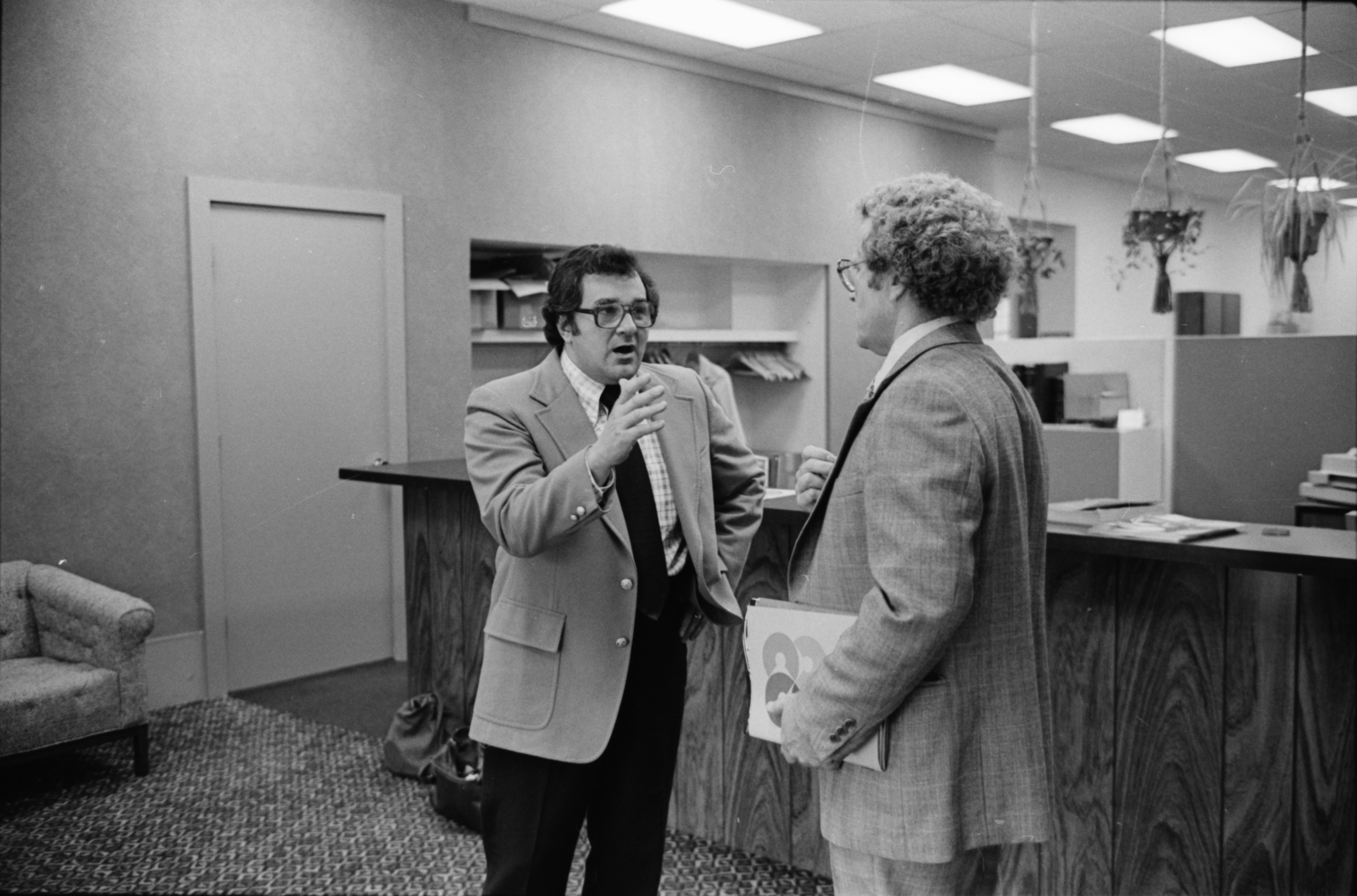 James Frenza Talking to Businessman Whose Company Is Looking Into Locating in Ann Arbor, September 1977 image