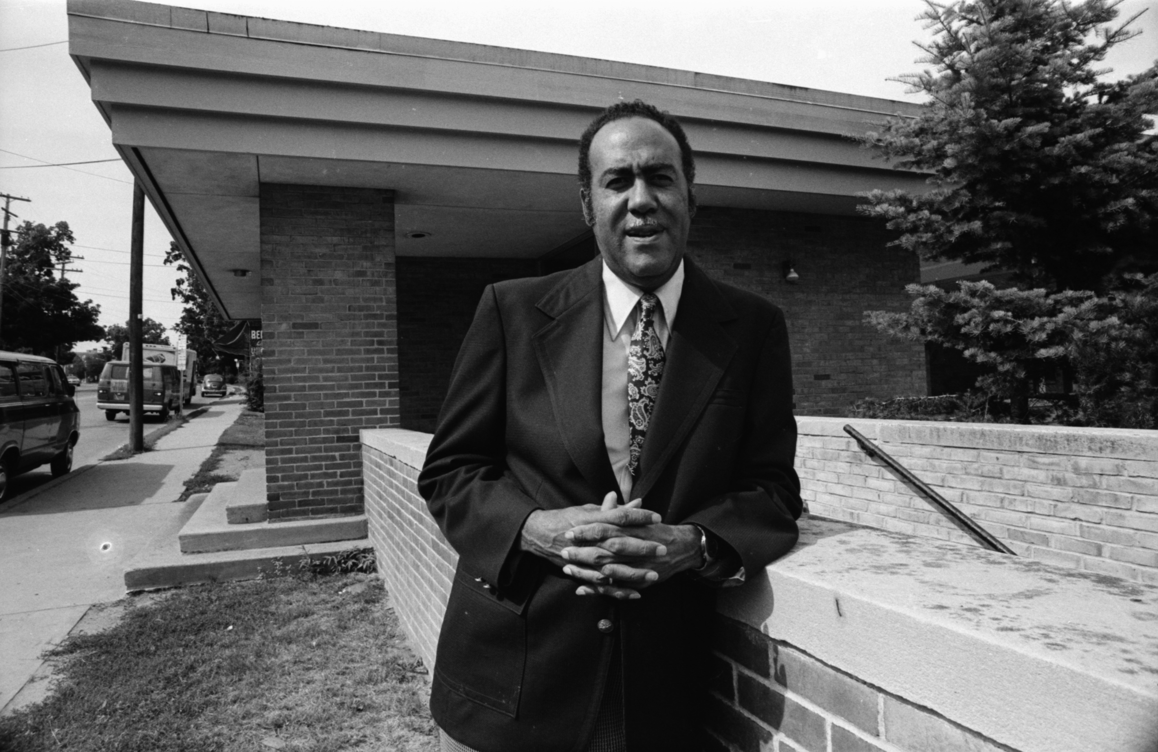 Walter Hill, Director of the Ann Arbor Community Center, Outside the North Main Street Building, July 1978 image