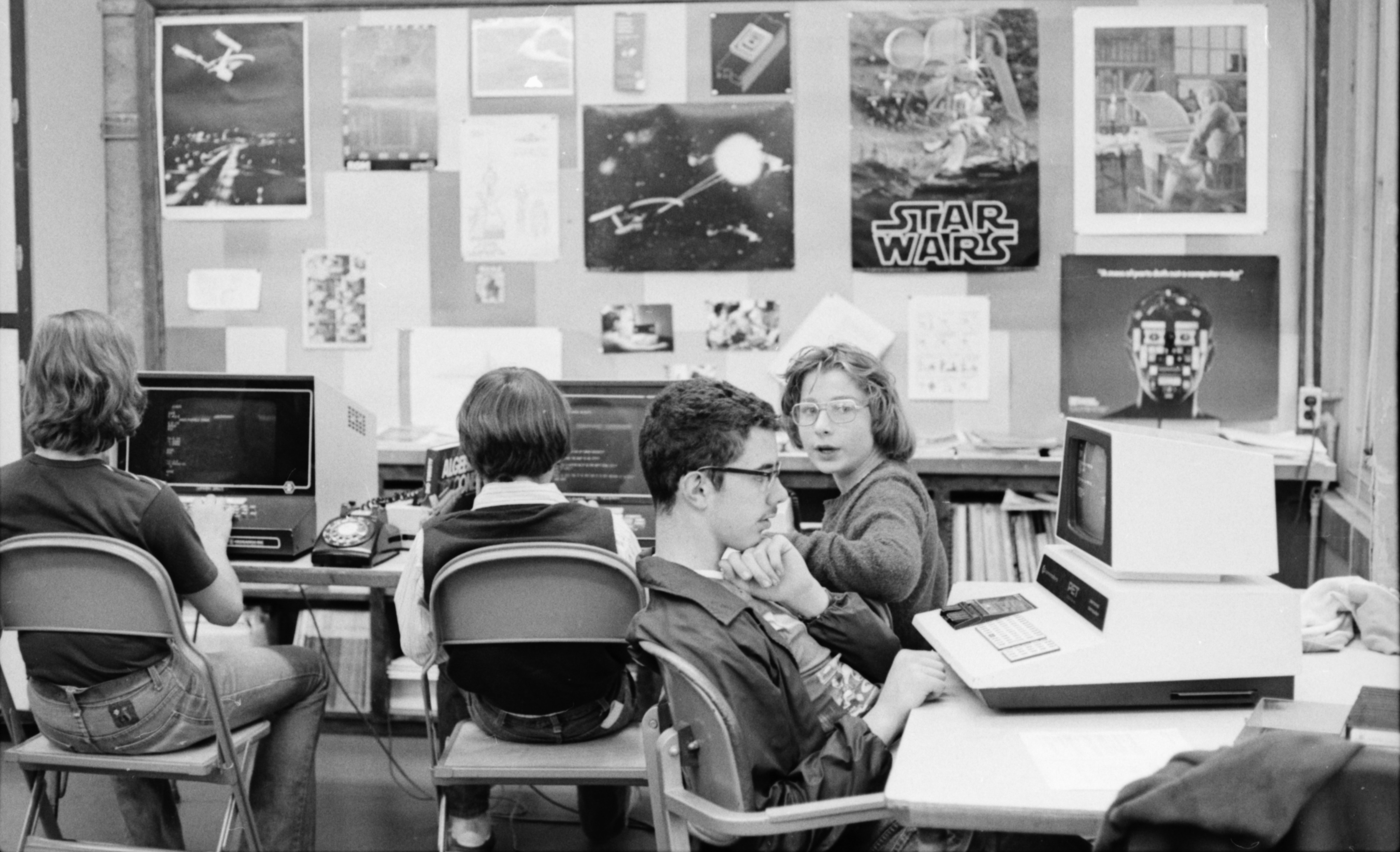 Computer class at Community High School students, 1978 image