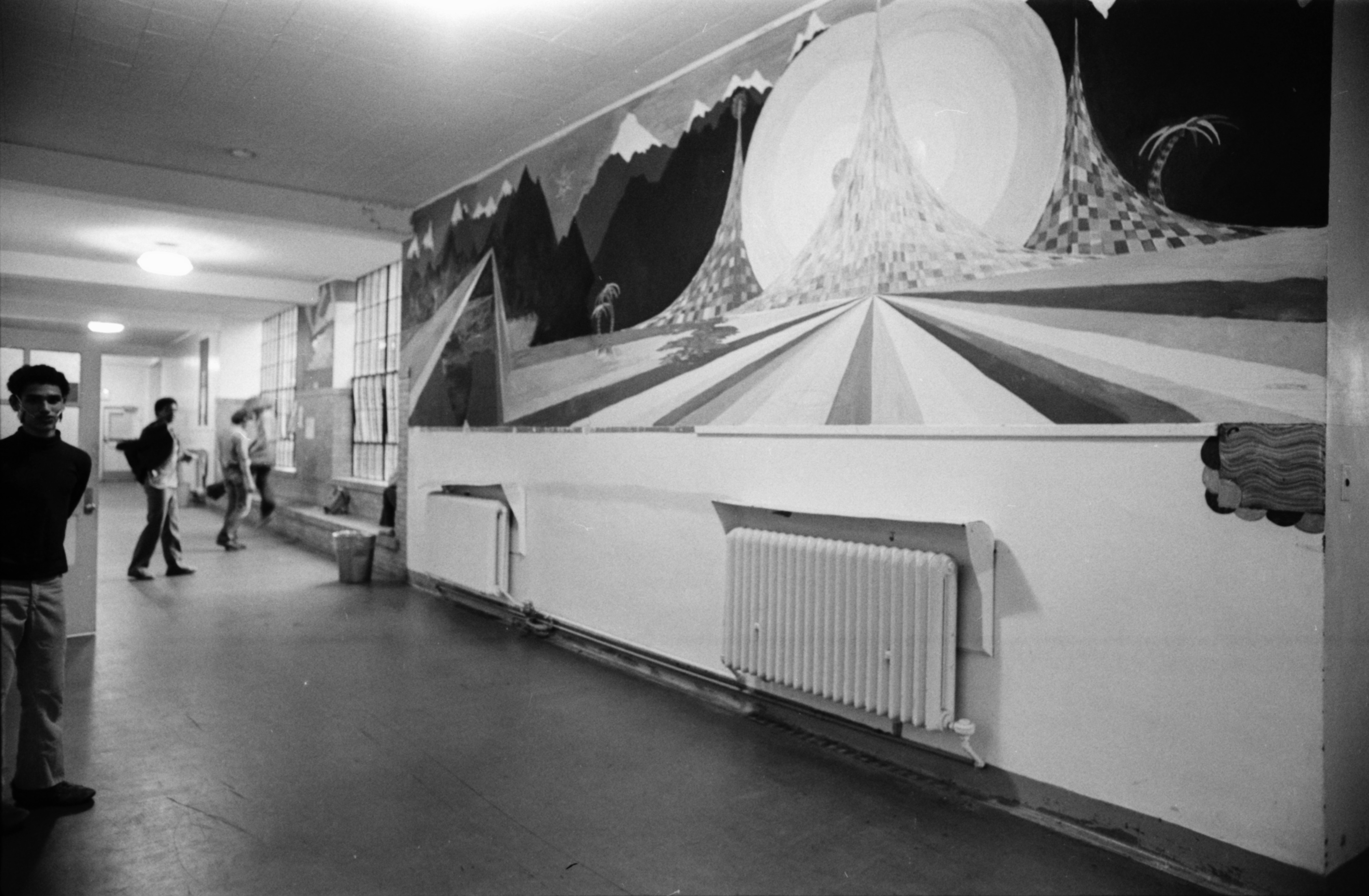 Hallway mural at Community High School students, 1978 image