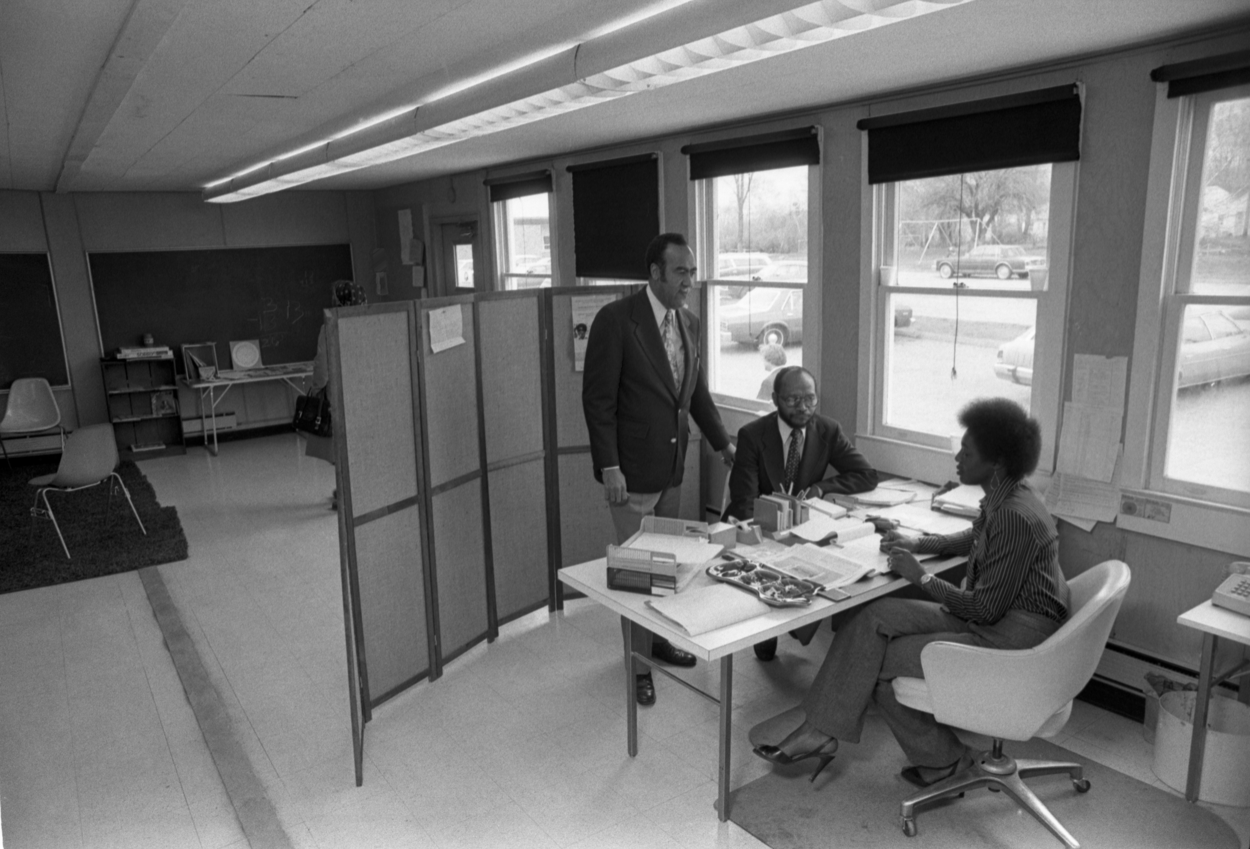 Walter Hill With Ann Arbor Community Center Staff At Their North Side Branch, April 30, 1979 image