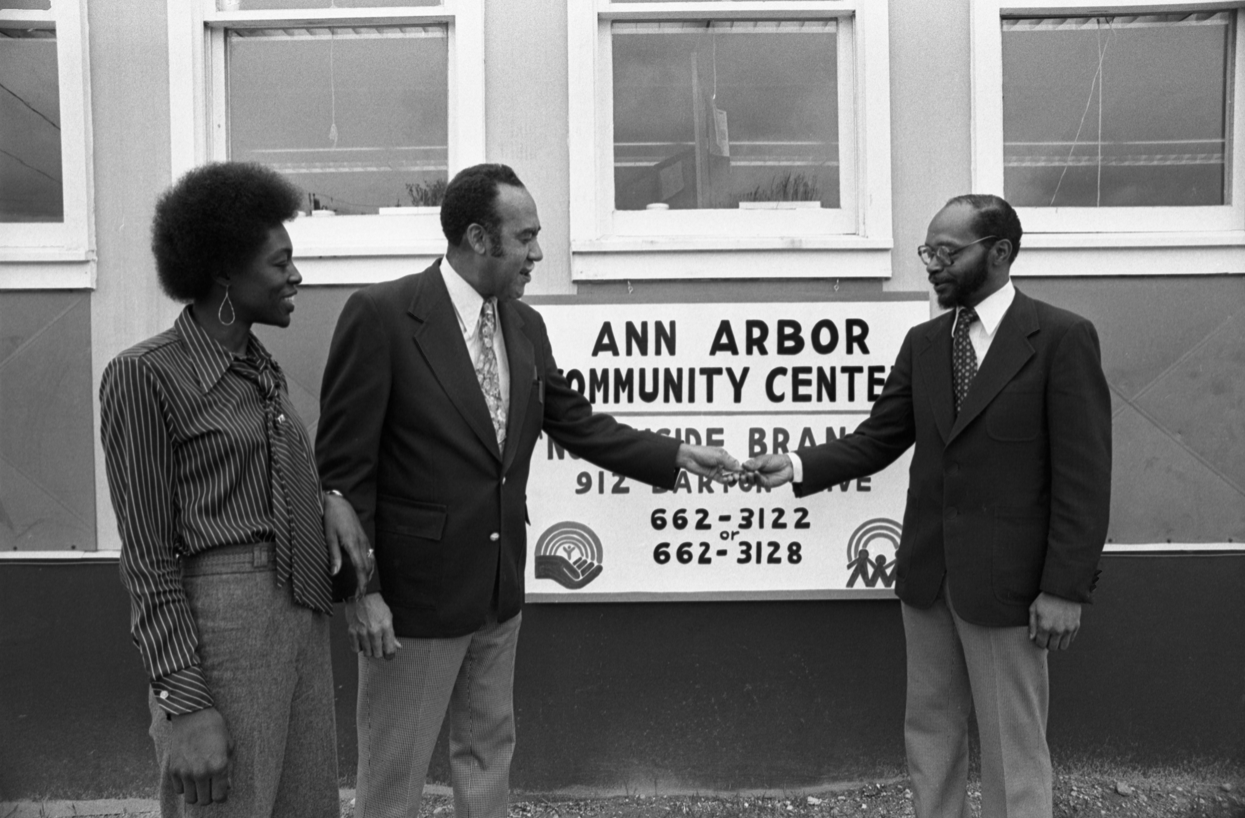Ann Hawkins, Walter Hill & Robert Potts In Front Of The New North Side Branch Of The Community Center, April 30, 1979 image
