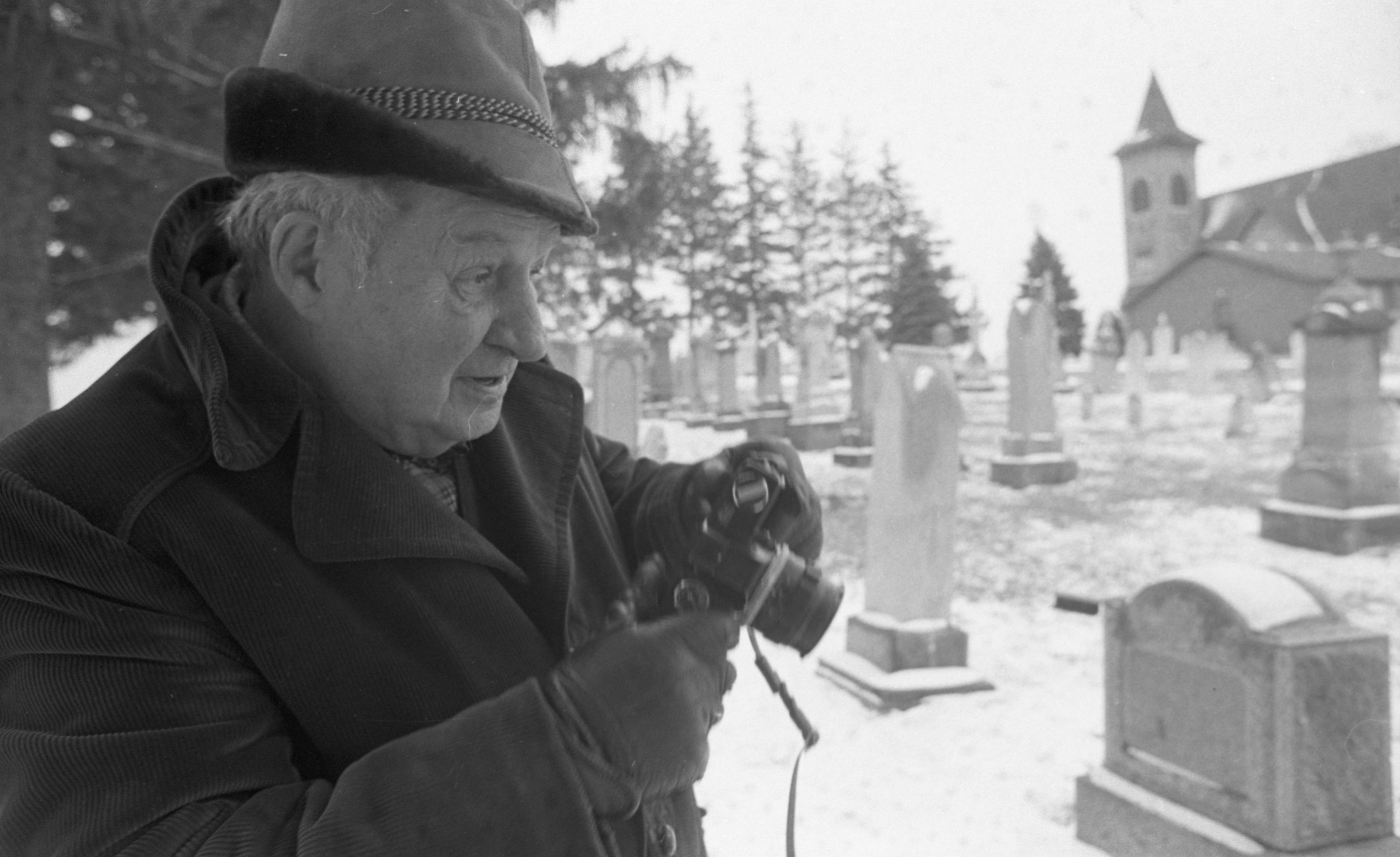 Harold A. Jones Takes Photographs In Bethel Church Cemetery, March 1980 image