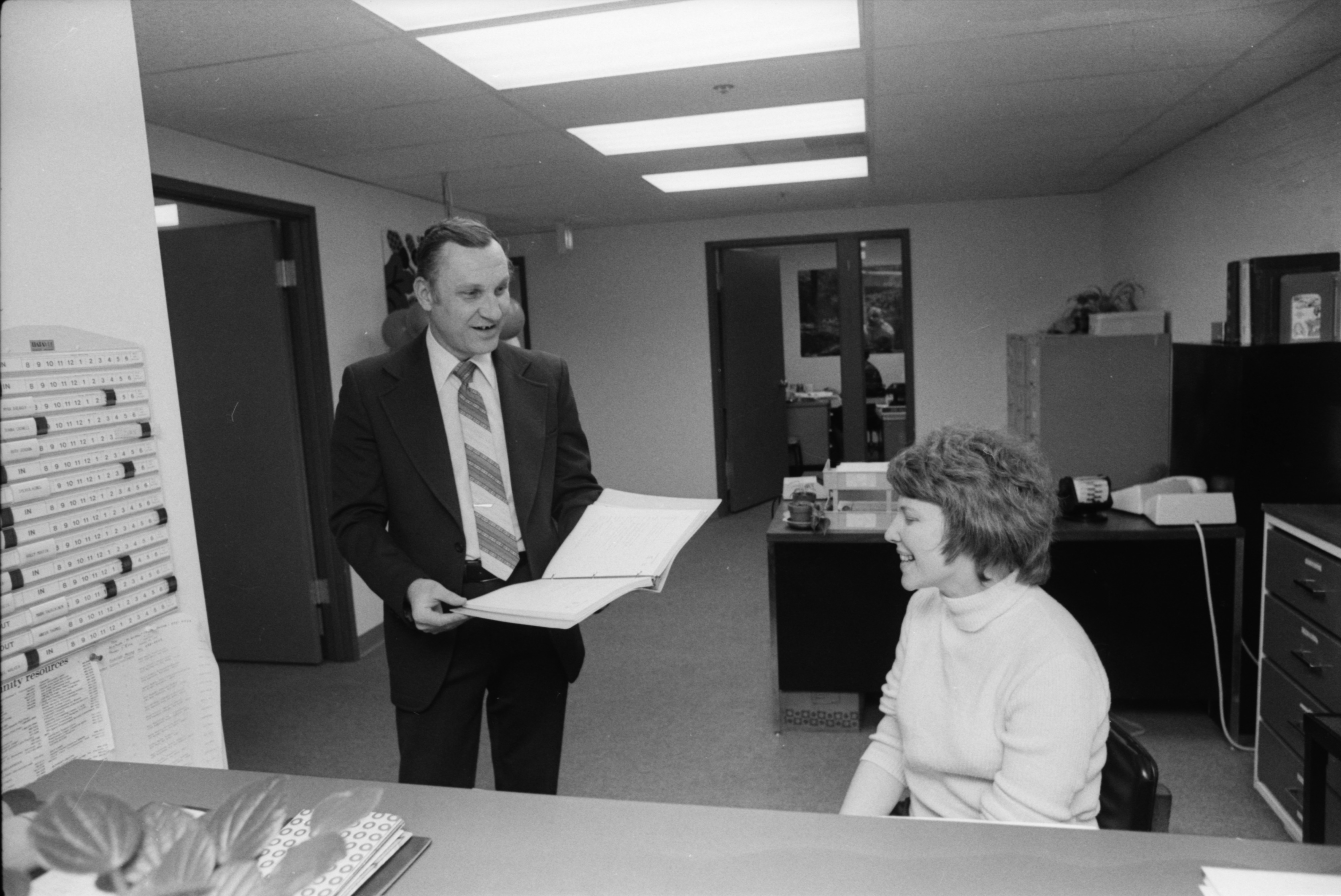 Barry Kistner and Mary E. Baird Discuss New Headquarters for Washtenaw Council on Alcoholism, March 1980 image