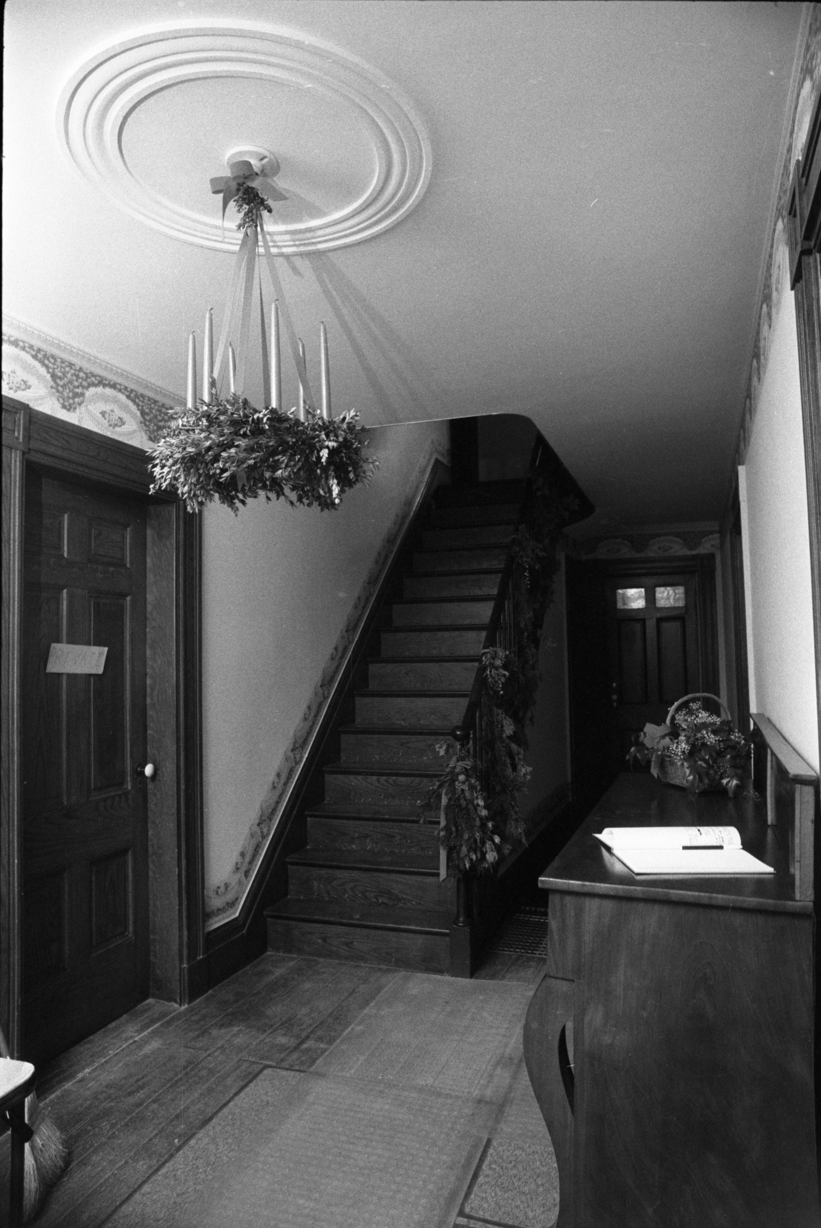Stairway Adorned With Christmas Decorations  At Cobblestone Farmhouse, December 22, 1980 image