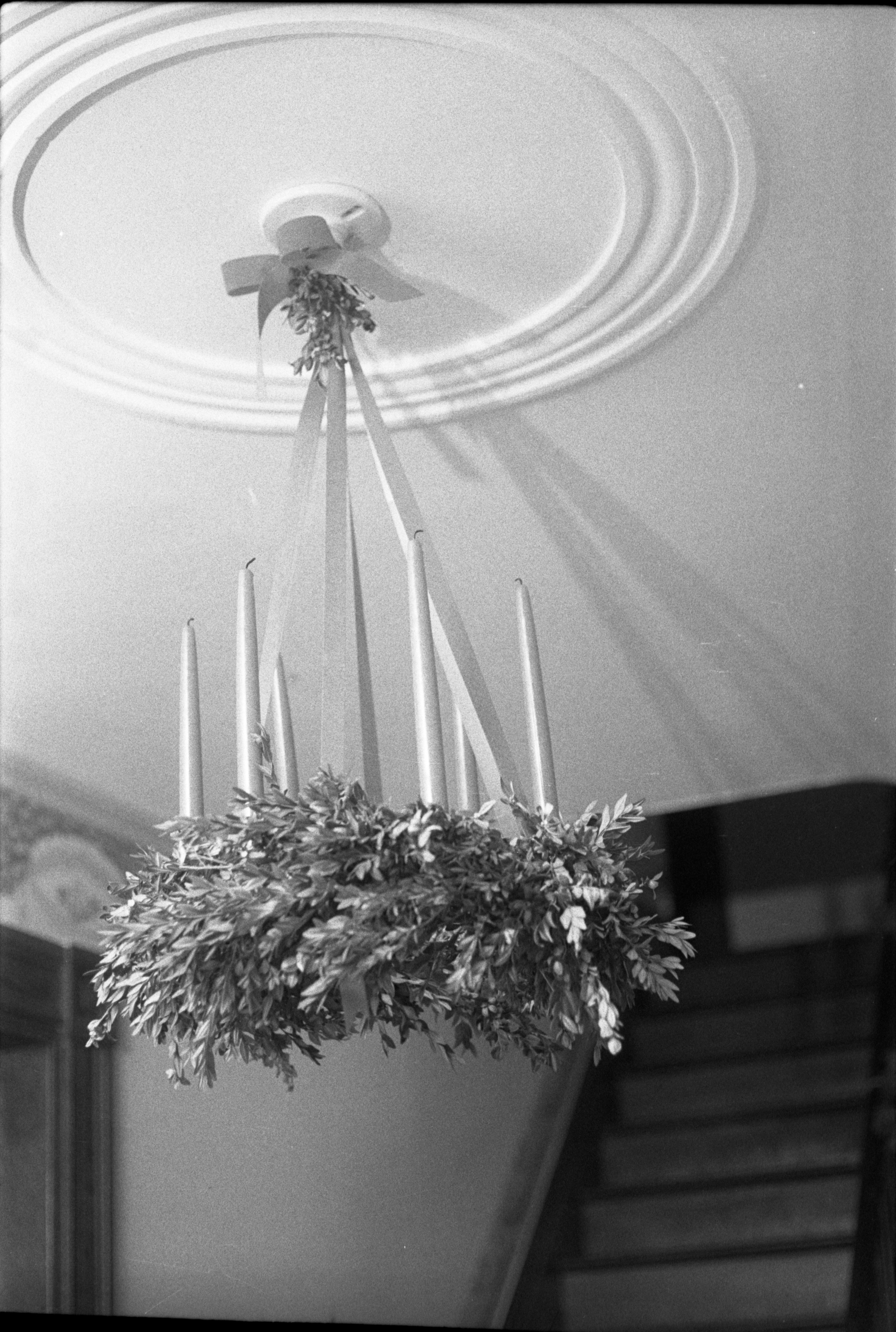 Wreath With Real Candles Decorated For Christmas At Cobblestone Farmhouse, December 22, 1980 image