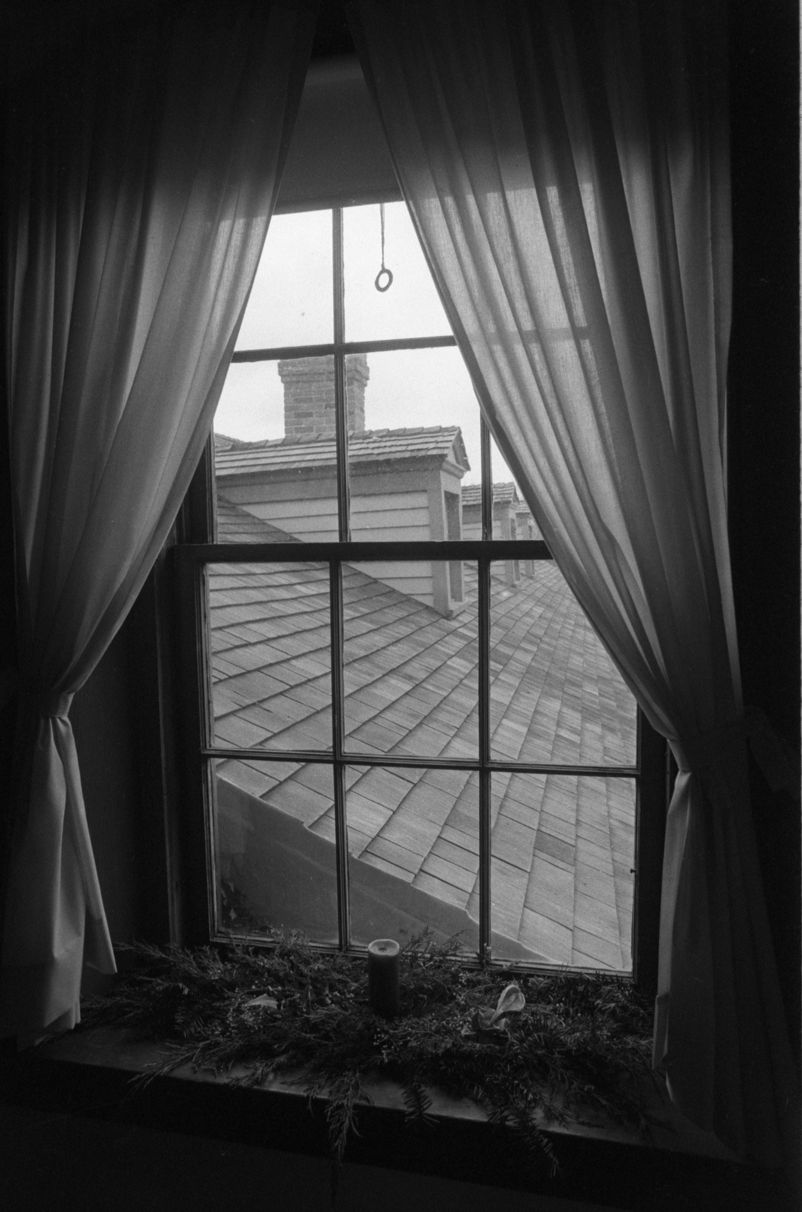 Window Sill Decorated For Christmas At Cobblestone Farmhouse, December 22, 1980 image