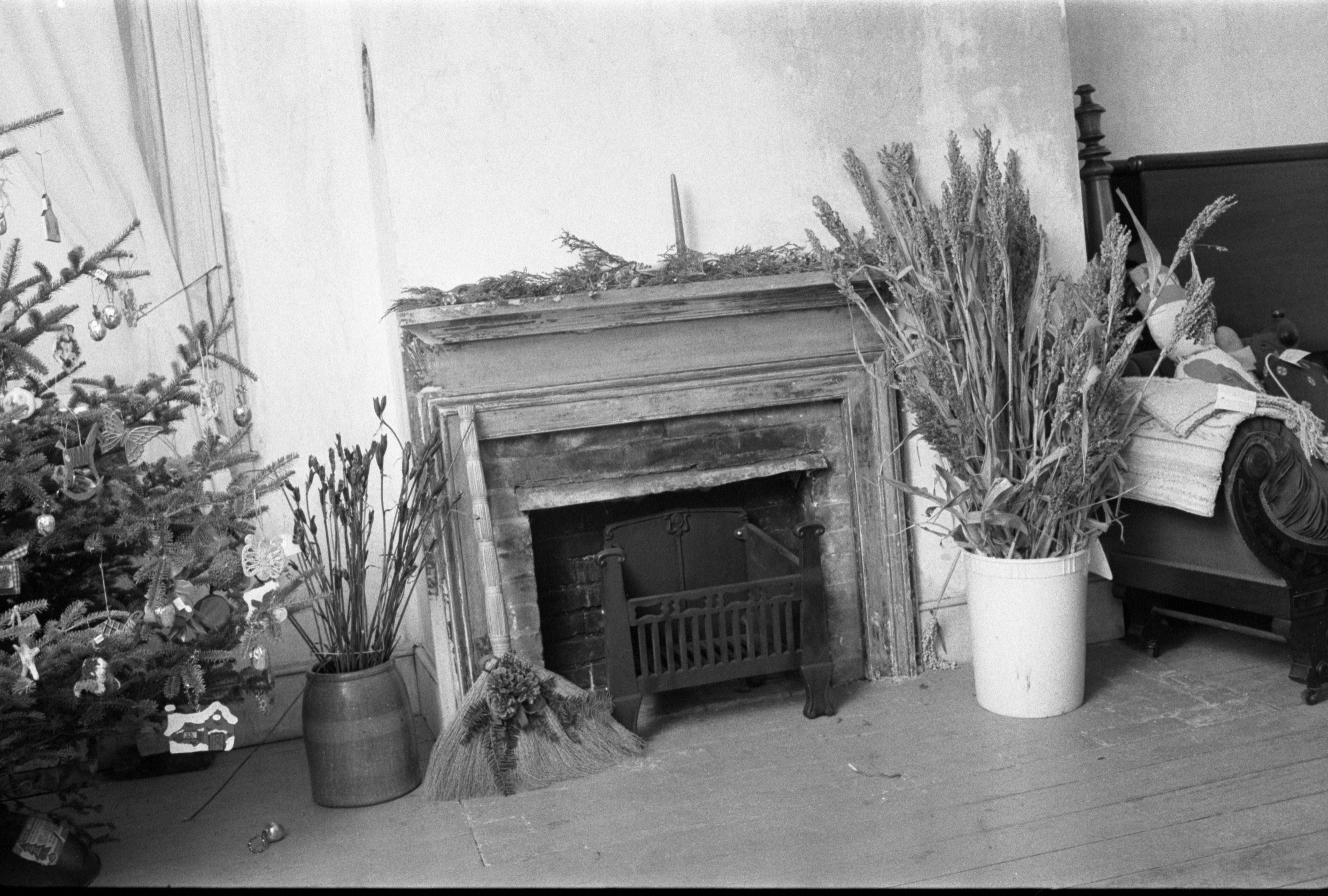 Christmas Decorations Around A Fireplace At Cobblestone Farmhouse, December 22, 1980 image