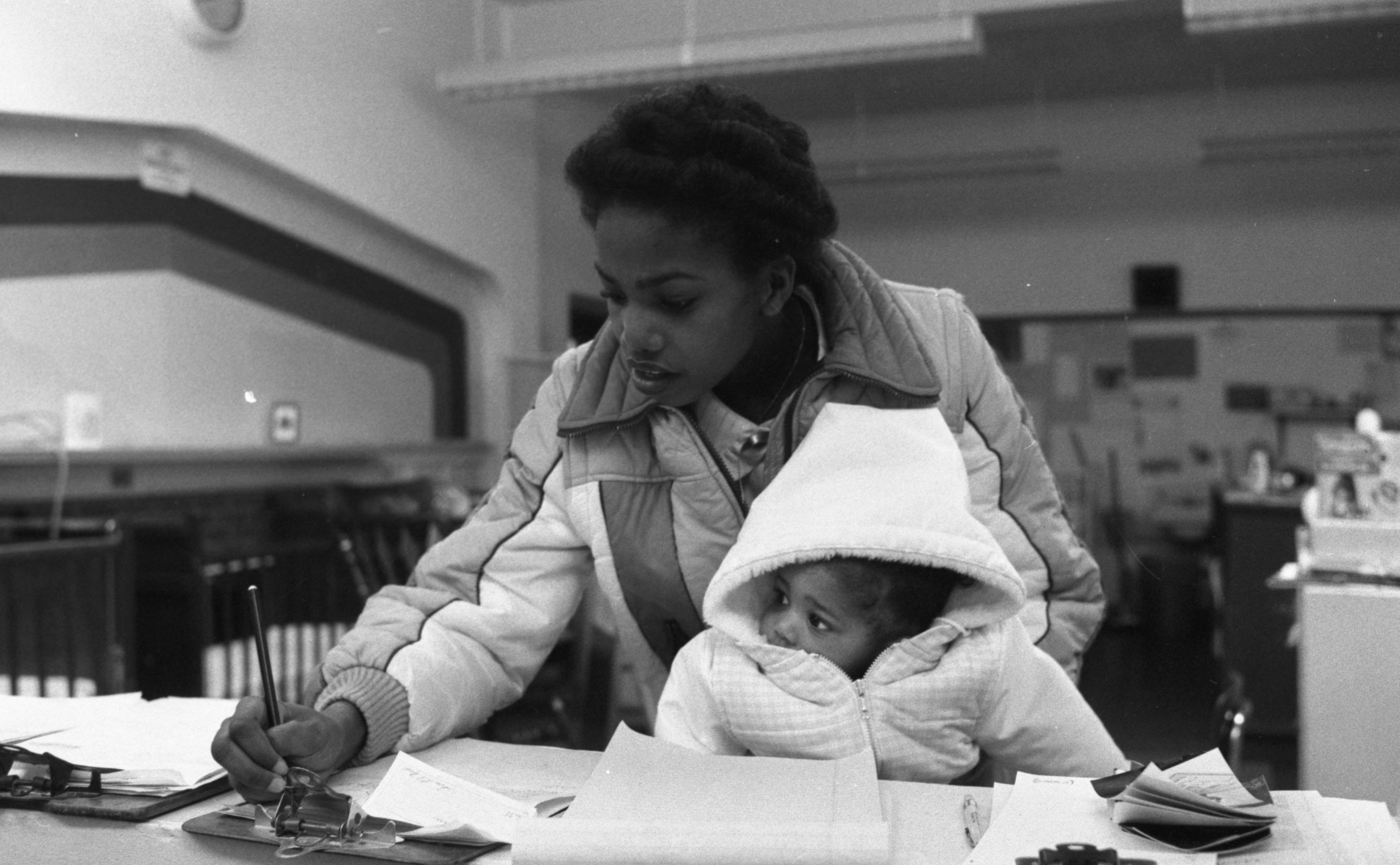 Sheila McSpadden Participates In Washtenaw County's School-Age Parent Program At Community High School, January 1982 image