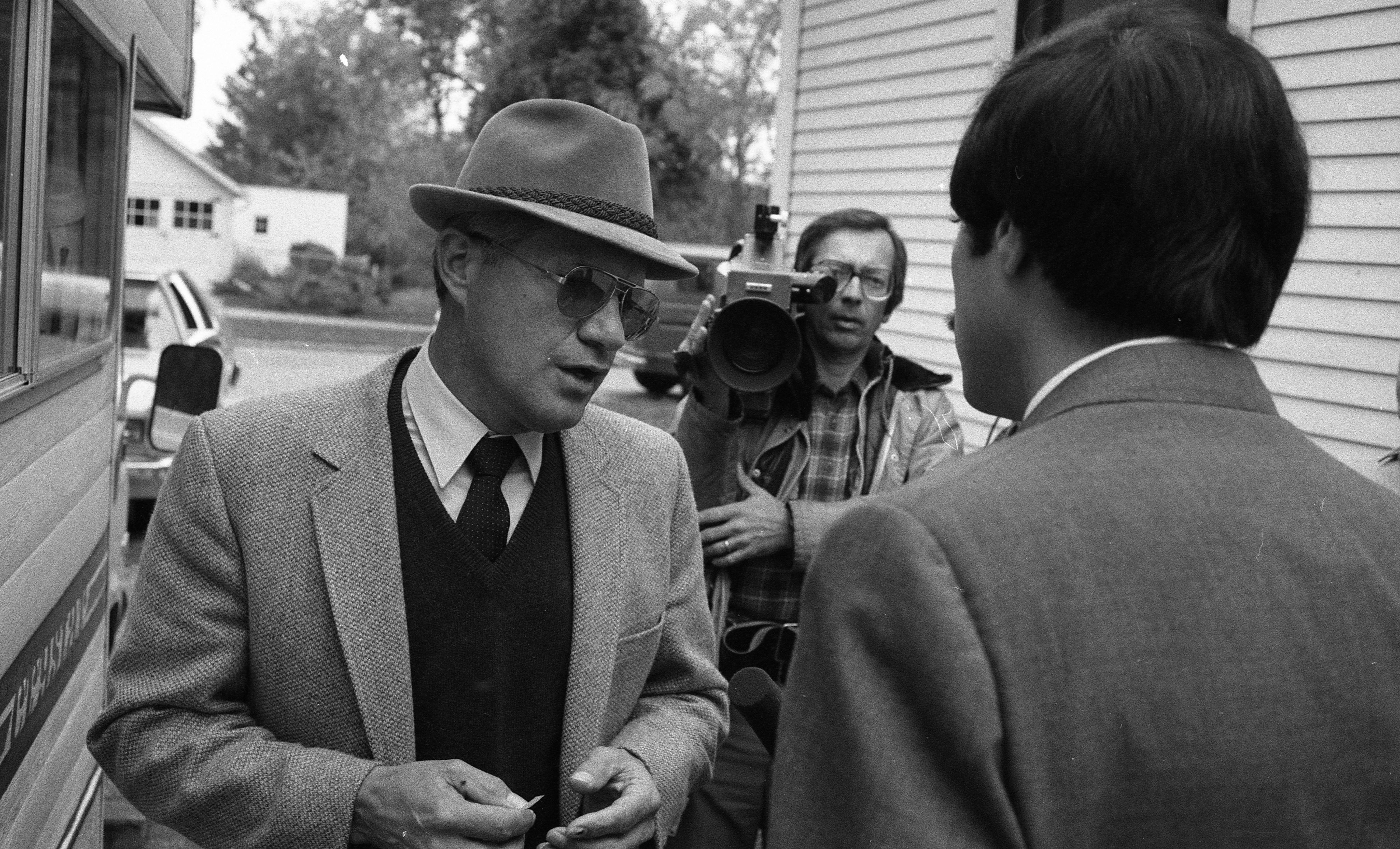 Ann Arbor Police Chief William J. Corbett Talks To Reporters During Manhunt for Kyle Johnson, October 1982 image