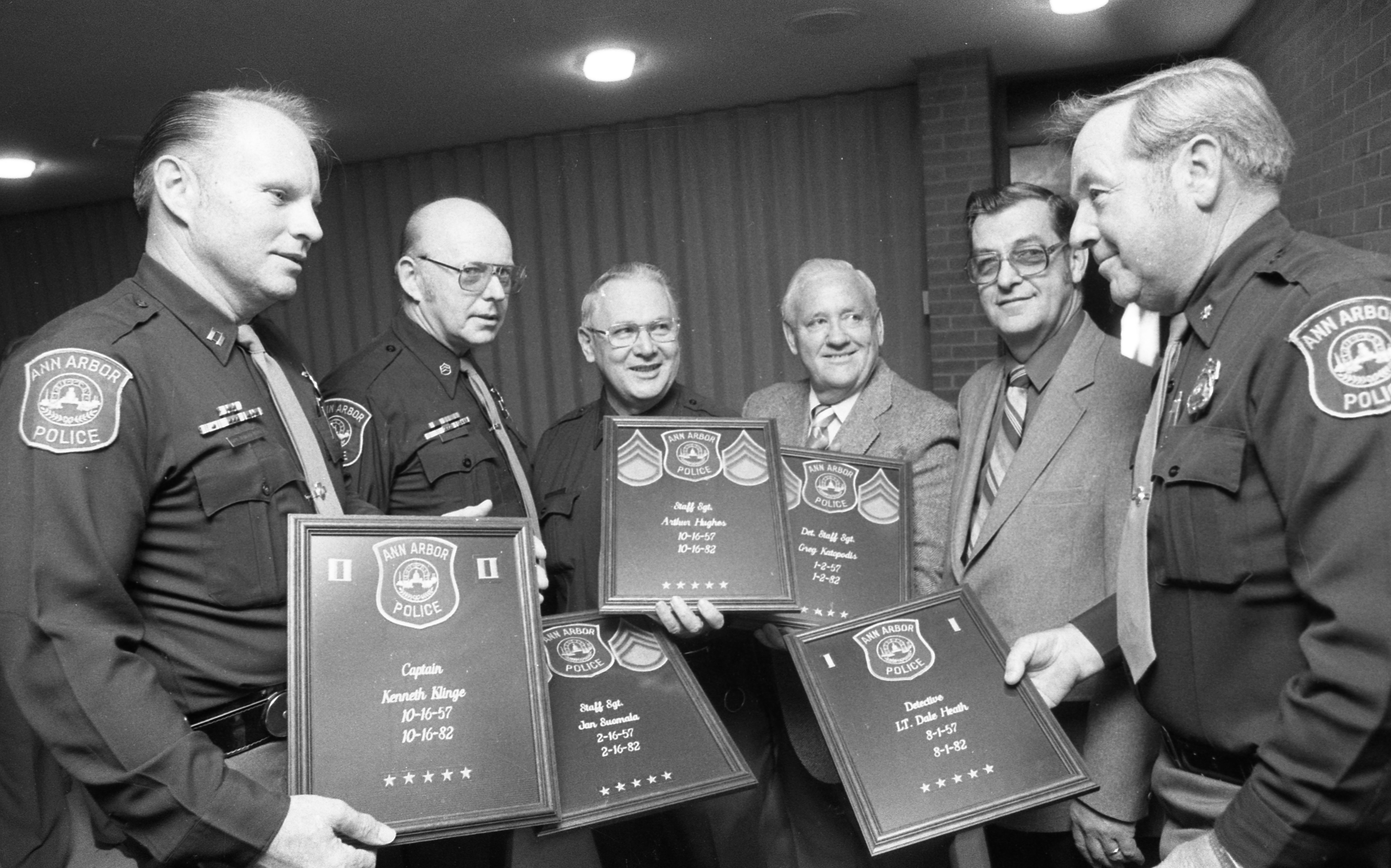 Ann Arbor Police Veterans Honored For 25 Years Of Service, November 1982 image