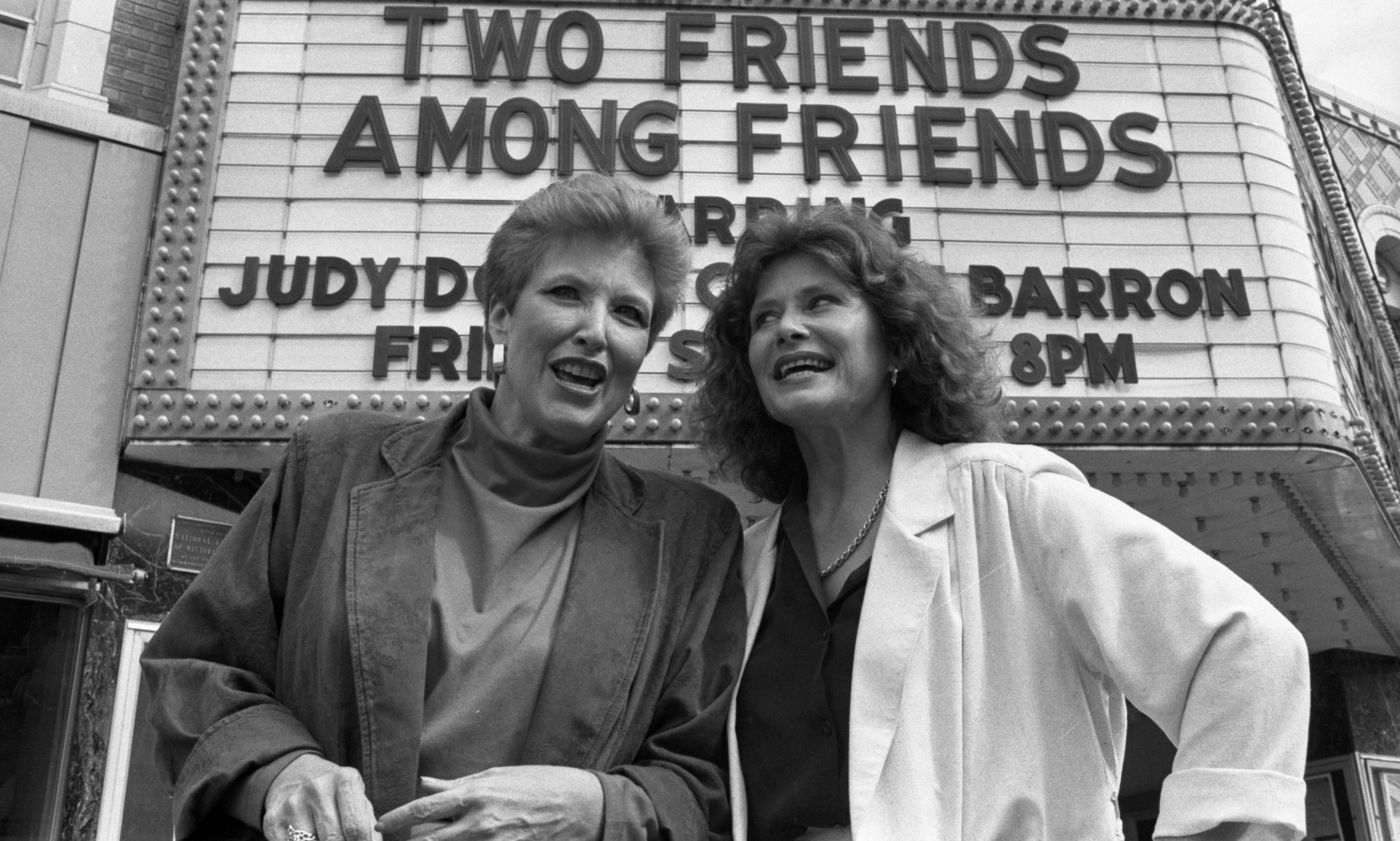 Judith Dow Towsley & Connie Barron In Front Of Marquee At The Michigan Theater, September 22, 1985 image