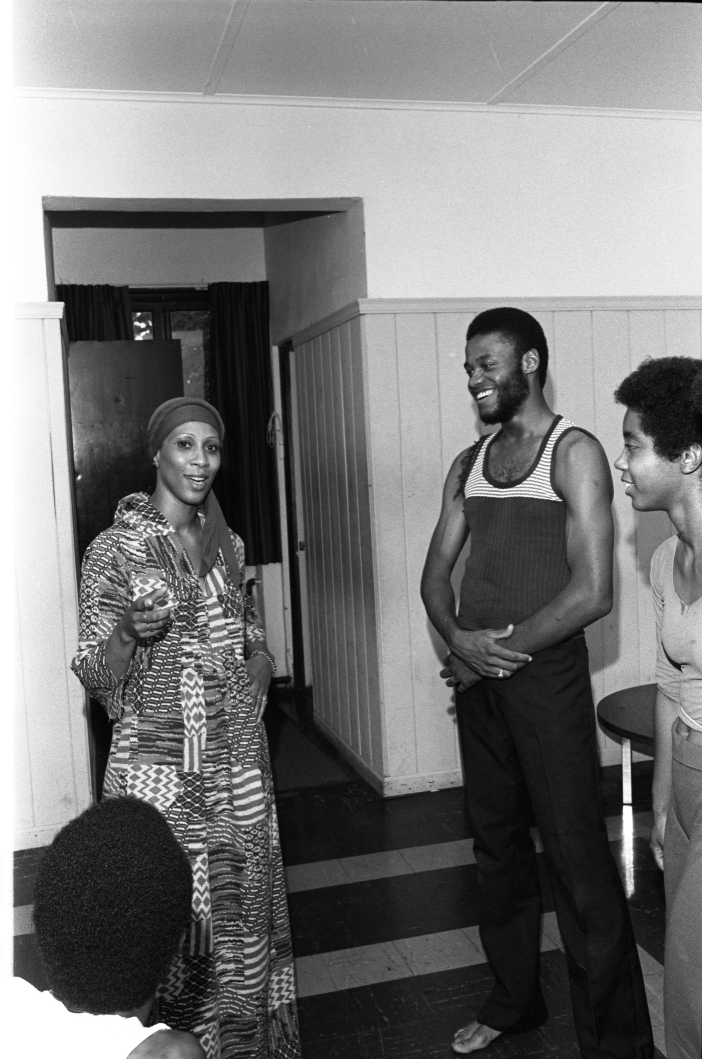 Lois Owens Talks To Members Of The Trotter House Dance Troupe, August 20, 1976 image