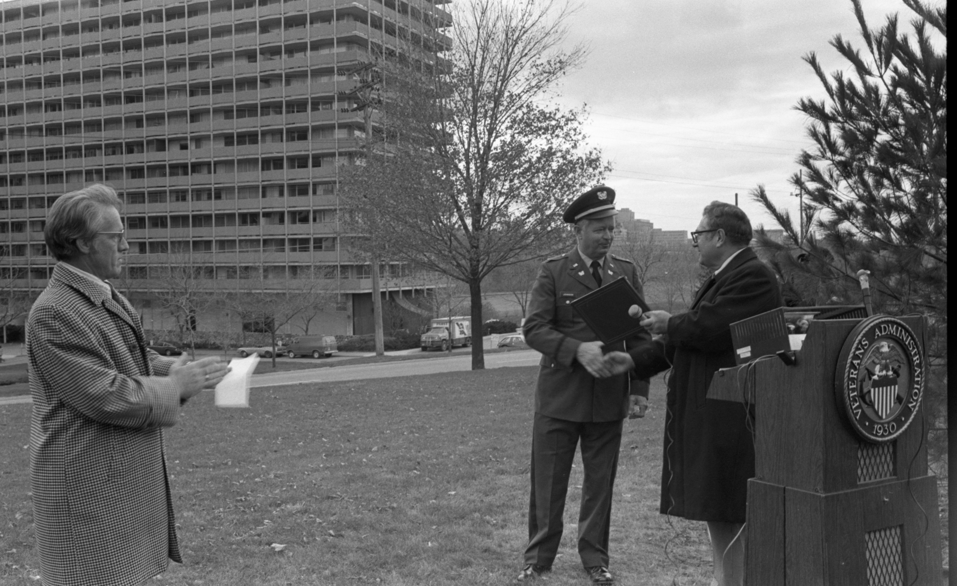 Oscar Johnson Receives A Plaque During The Veterans Day Tree Planting Ceremony At The VA Hospital - November 11, 1976 image
