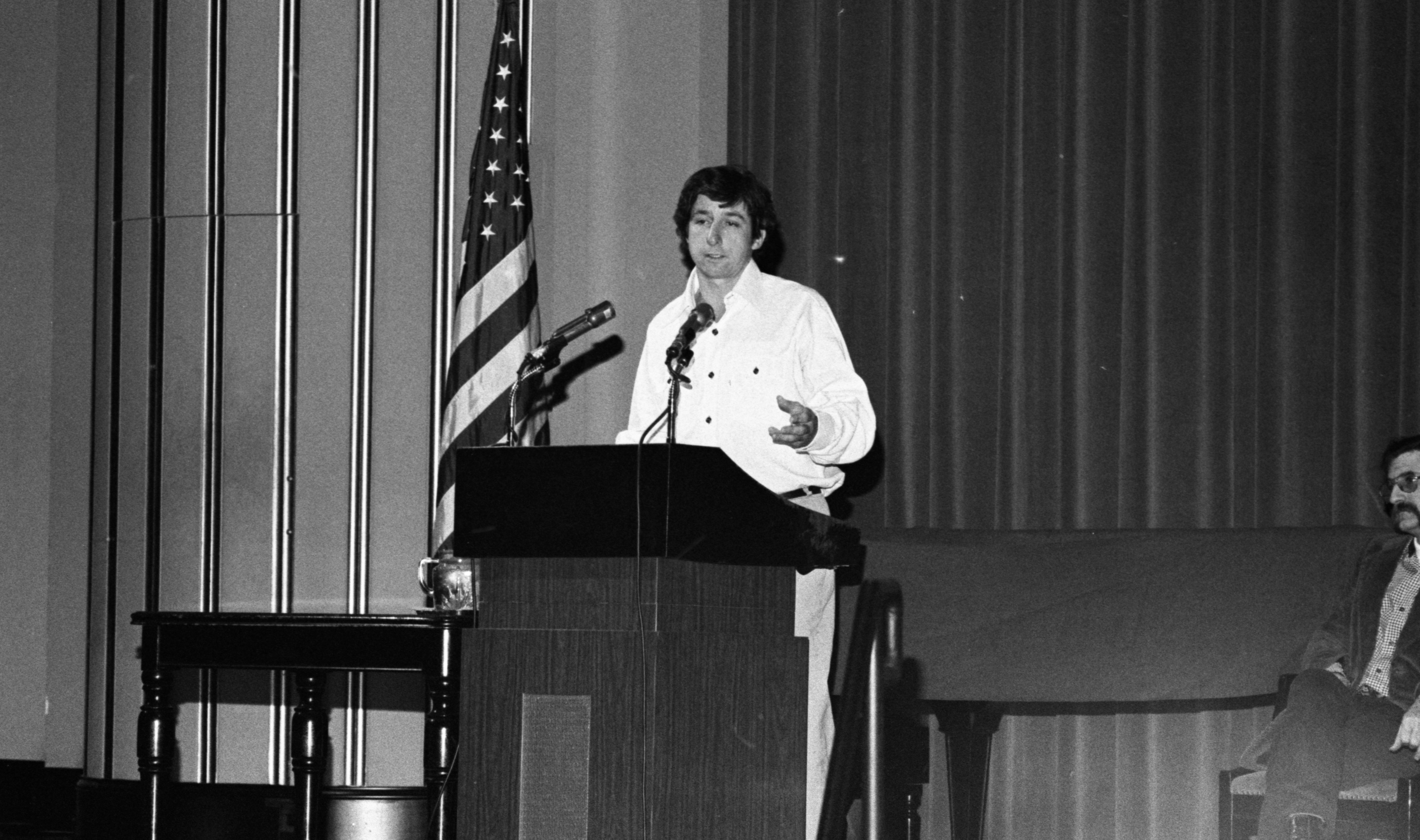 Tom Hayden Given Hero's Welcome at Rackham Auditorium, January 1977 image