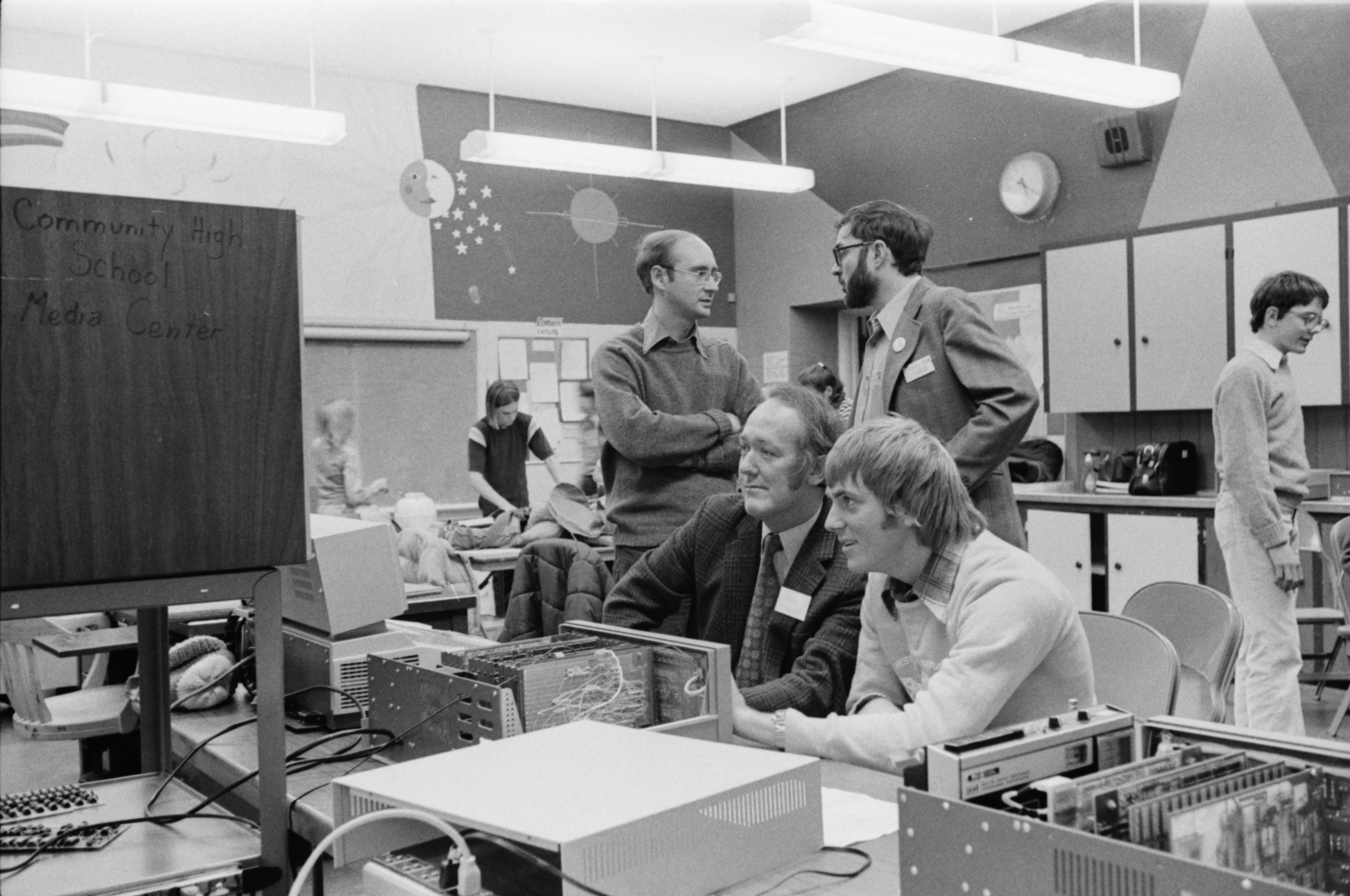 Australian Computer Experts Visit Community High School Media Center, February 1977 image