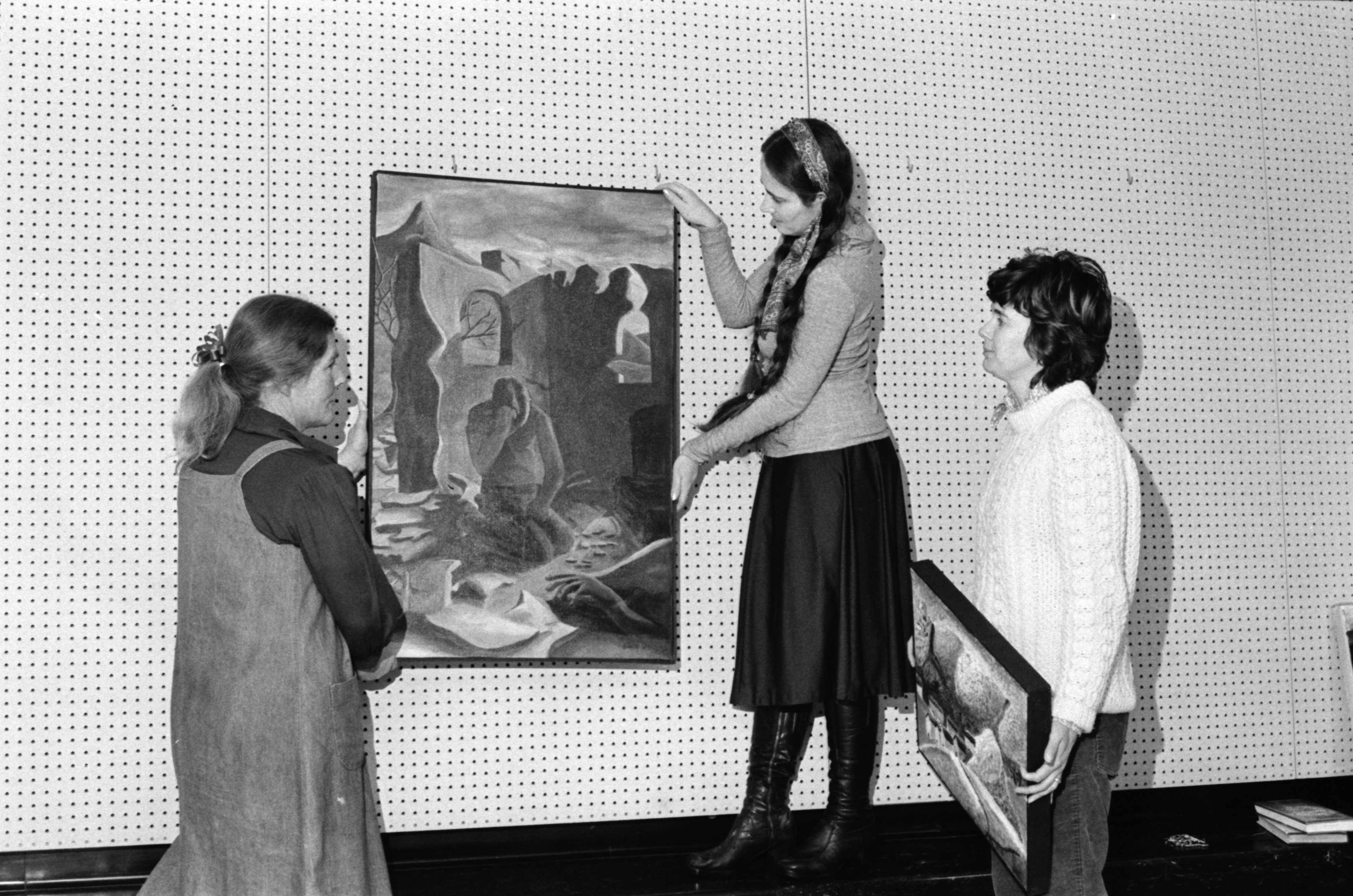 Huron High School Readies for Art Show at the Ann Arbor Public Library, January 1978 image