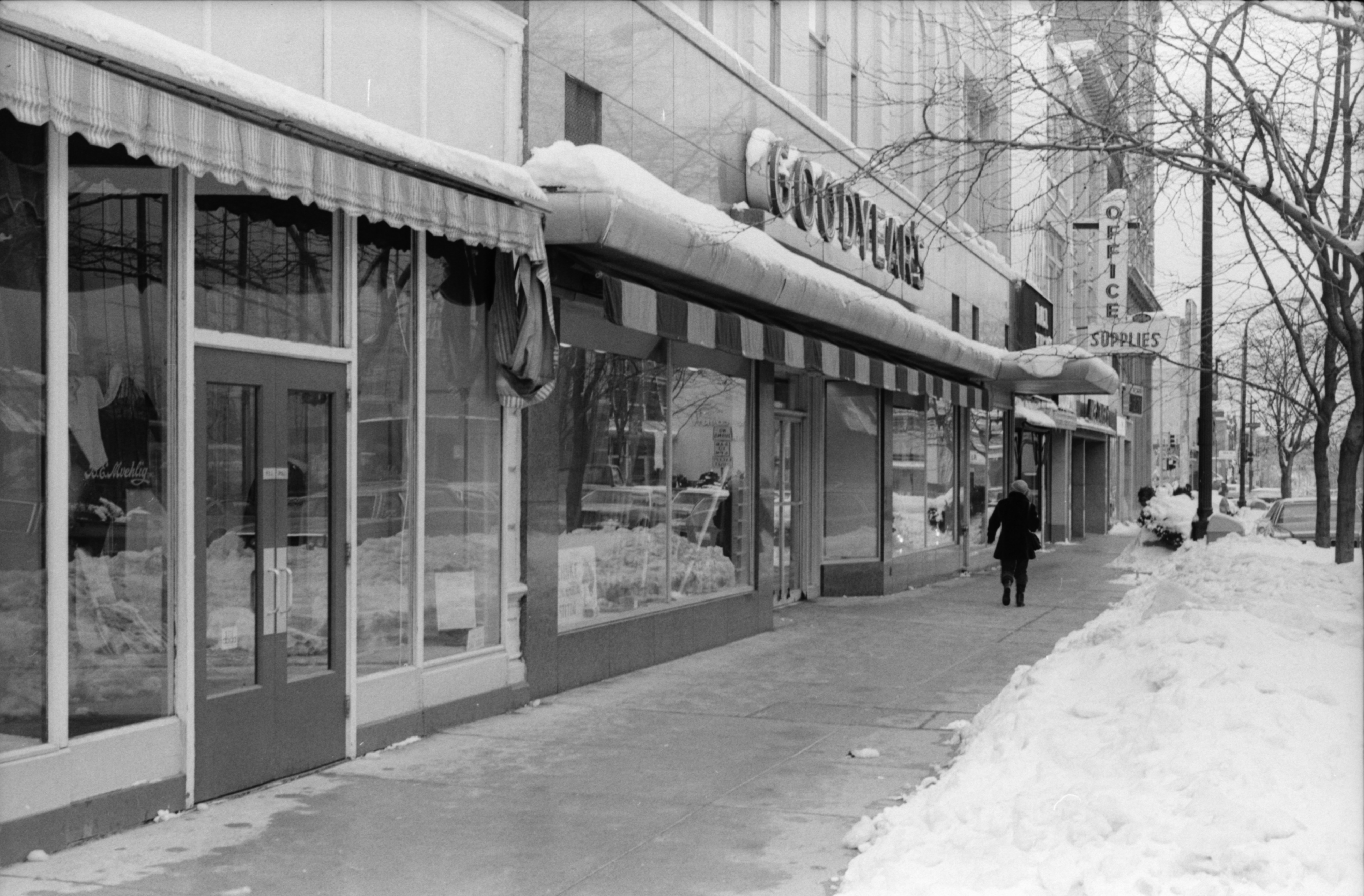 Clear Sidewalks In Front of Goodyear's After Blizzard, February 1978 image