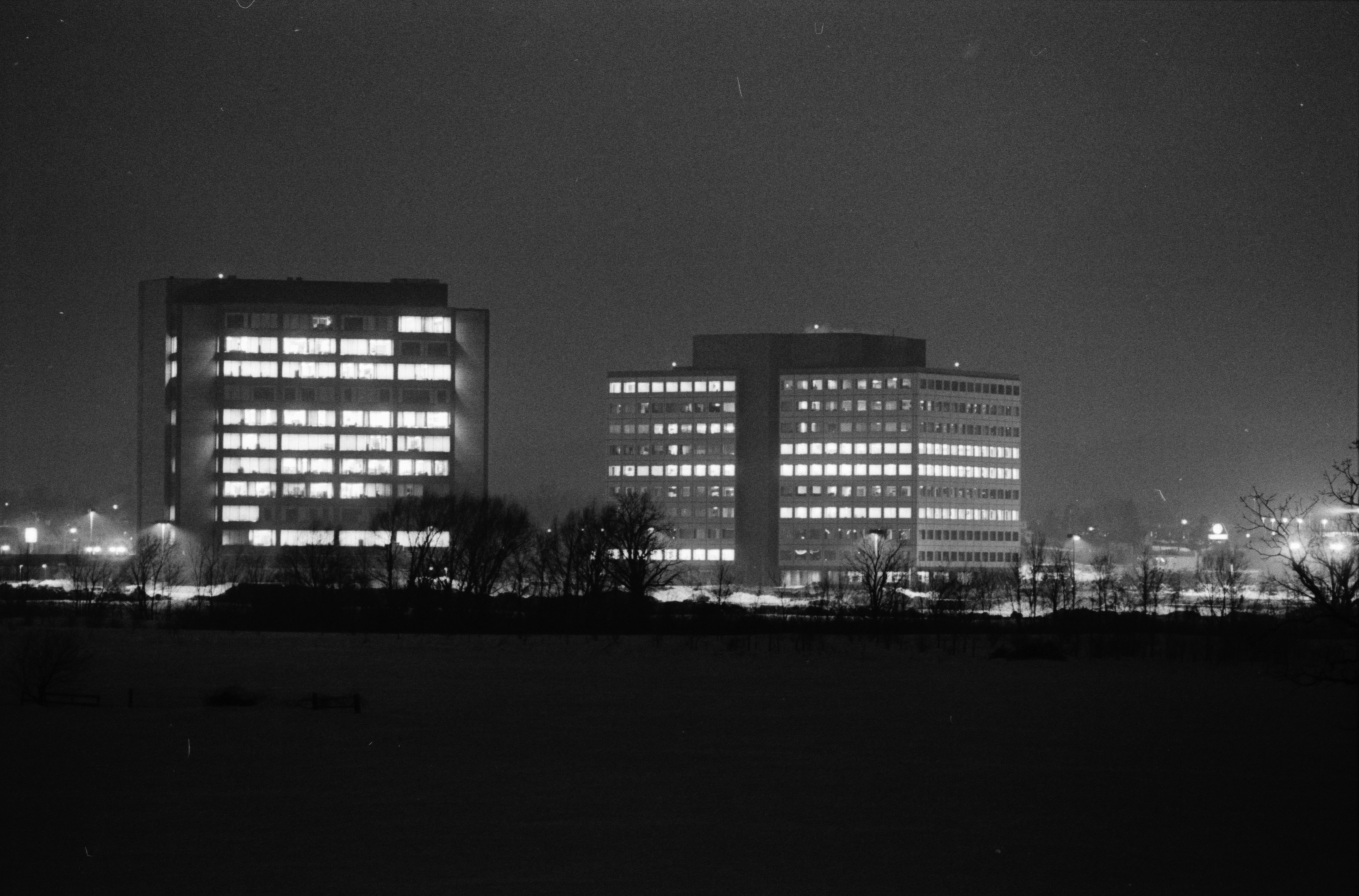 Wolverine Towers Lit Up Despite Energy Conservation Push By Gov. Milliken, February 1978 image
