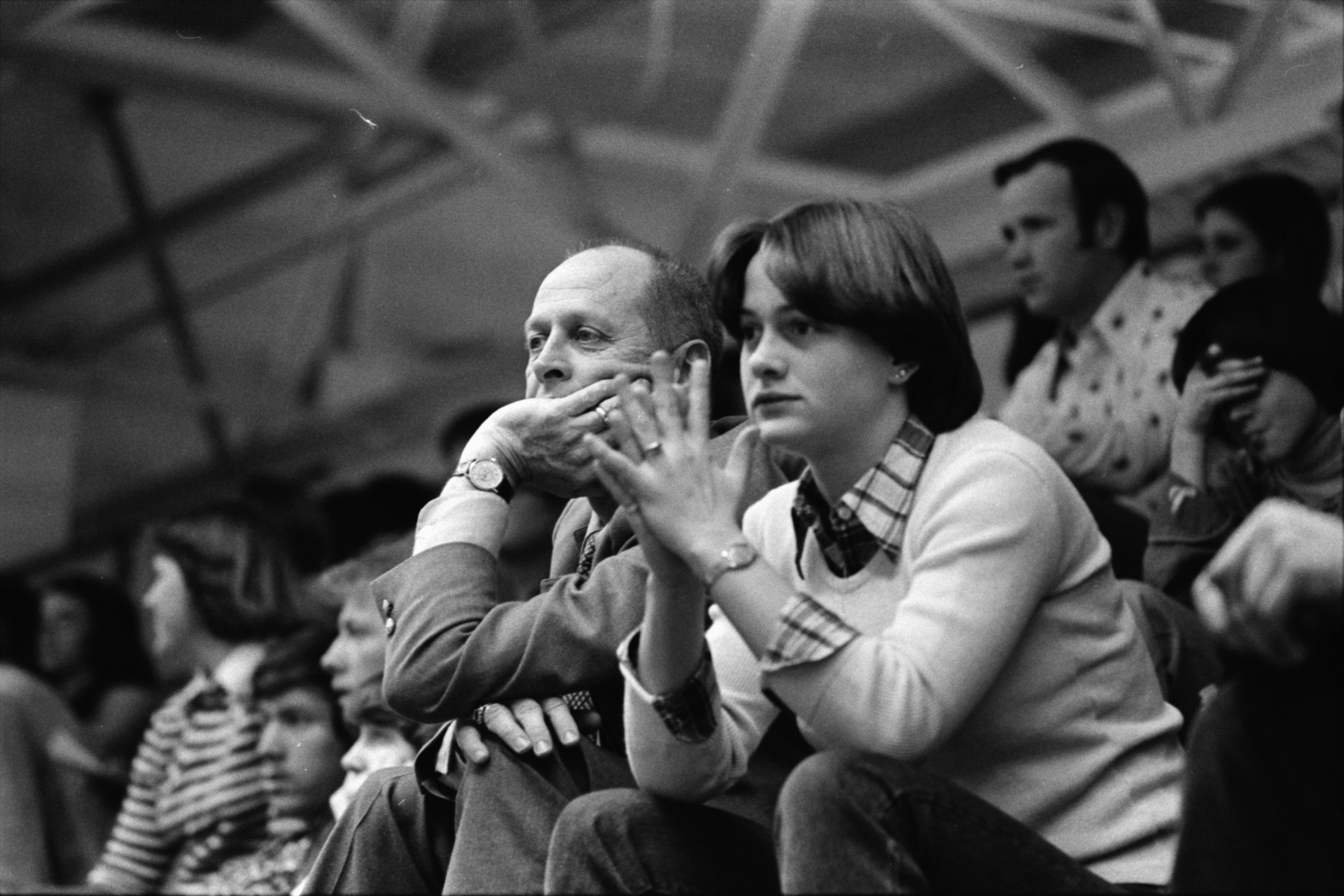 Pioneer Fans Watch Team Take on Huron River Rats, February 1978 image