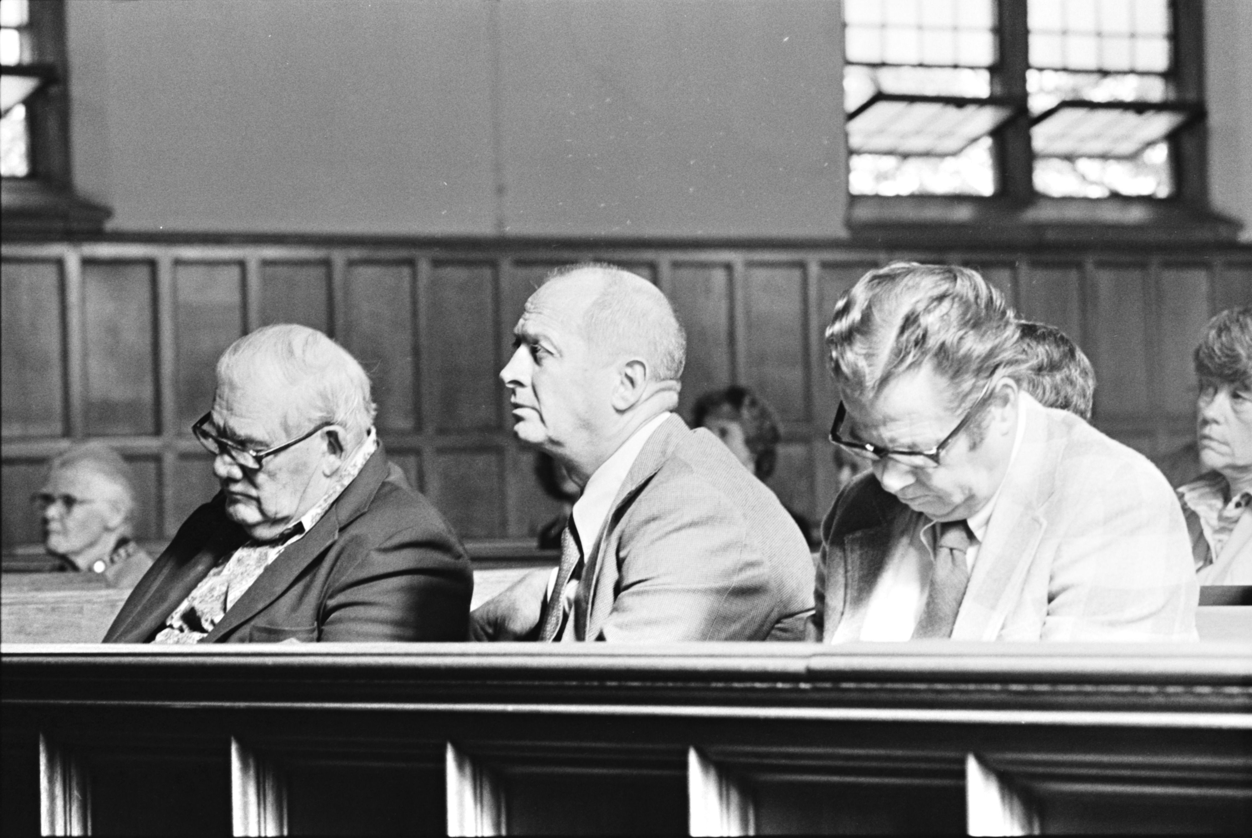 Wally Weber, John Orr and Don Canham at the funeral of Hazel Losh, October 1978 image