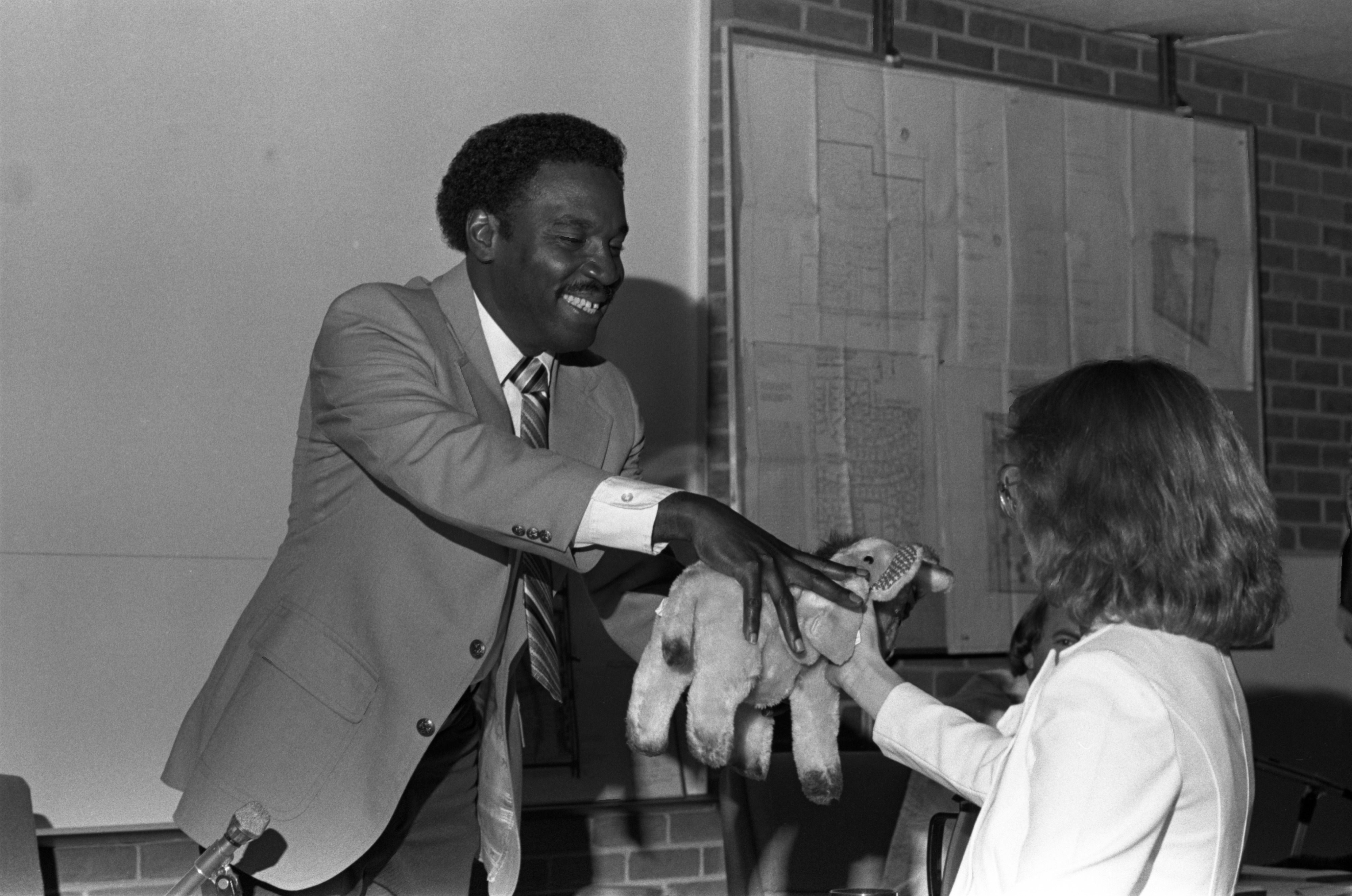 Sylvester Murray Receives Stuffed Animal Prior To His Last City Council Meeting, September 5, 1979 image