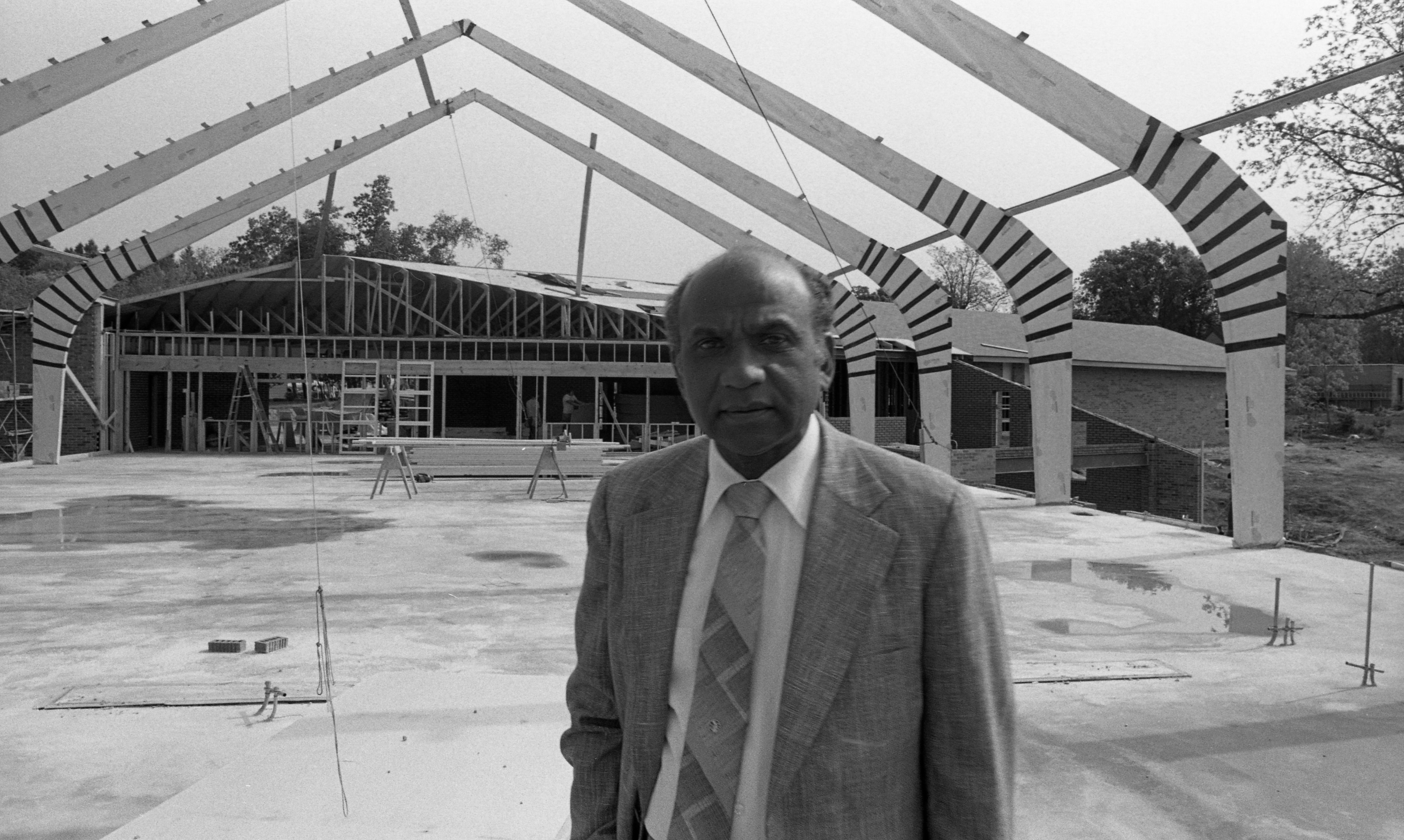 Rev. Emmett L. Green, Pastor, Second Baptist Church at Site of New Church on Red Oak Rd., May 1980 image