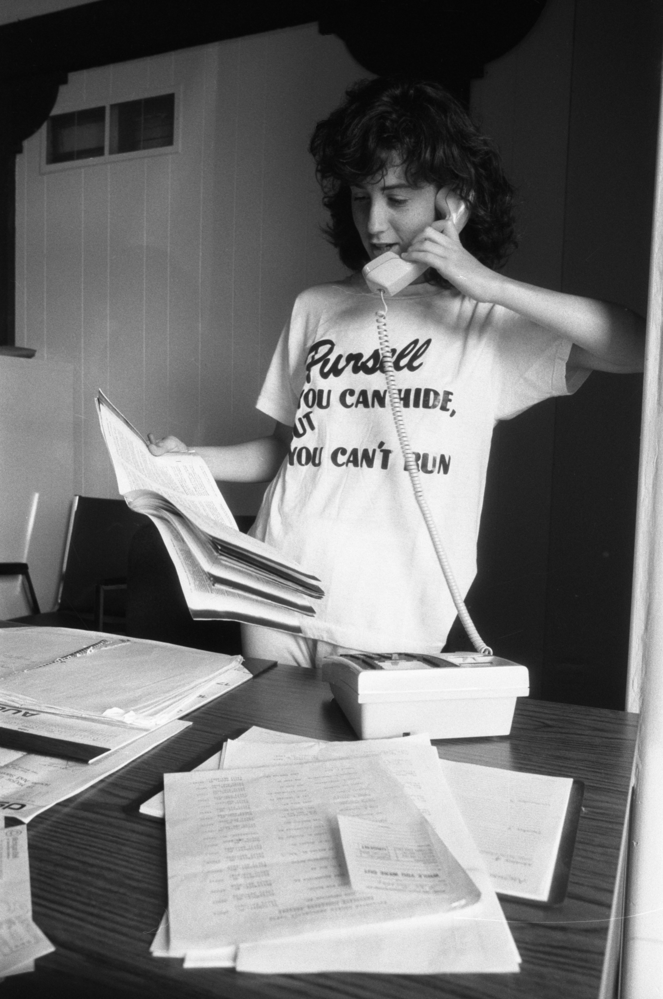 Diana Markel Mans The Phones At The Democratic Party Headquarters In Ann Arbor, September 4, 1986 image
