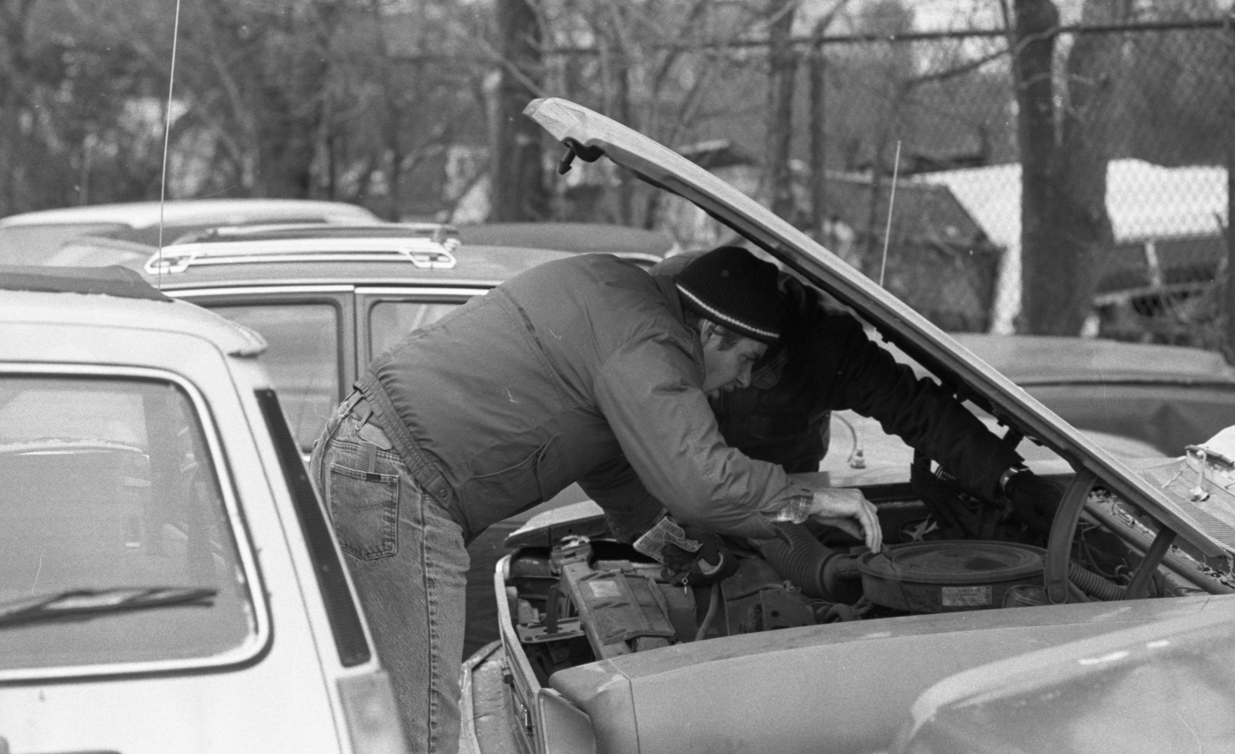 Customer Checks Out Auto at Ann Arbor Police Used Car Auction, January 1987 image