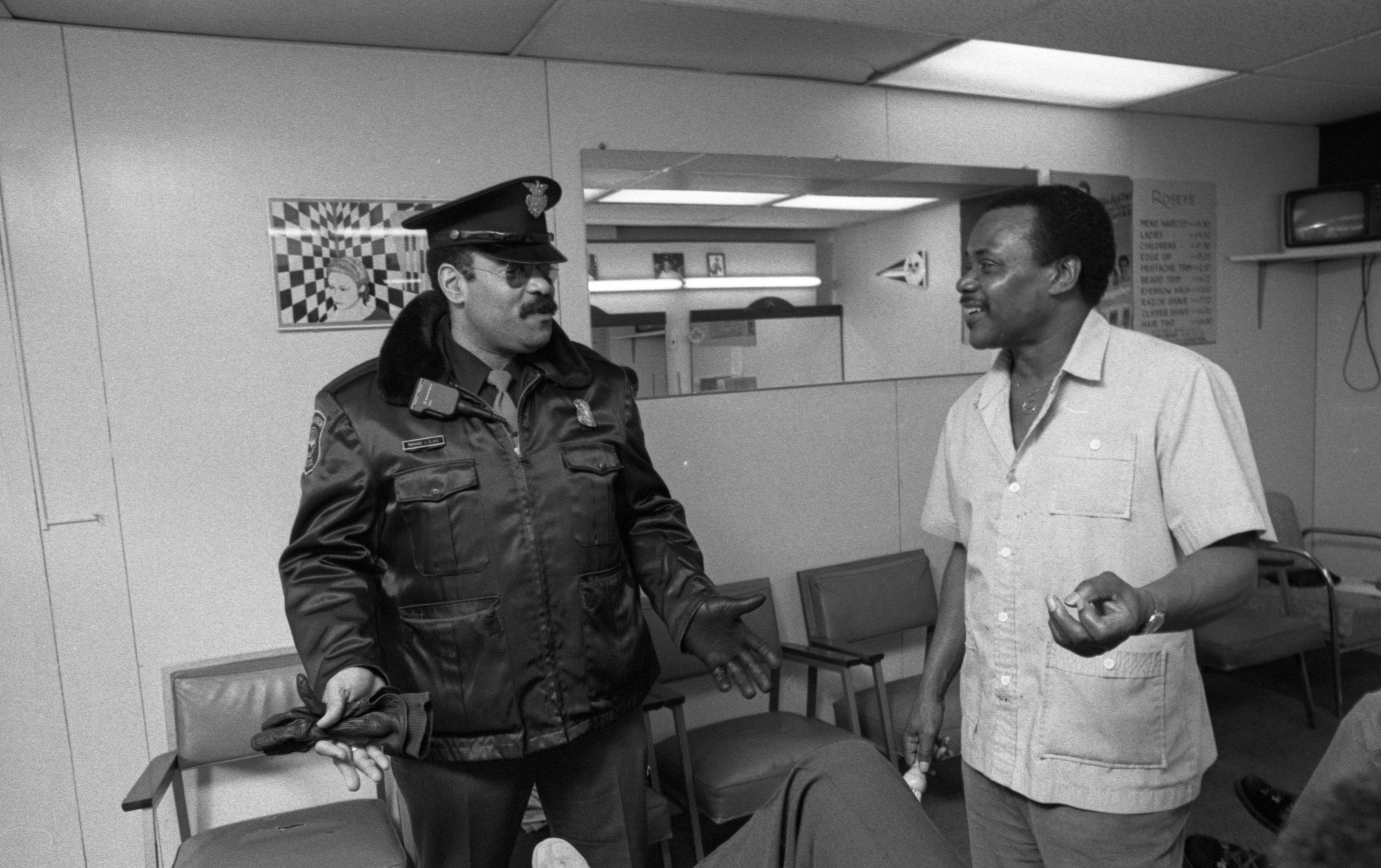 Ann Arbor Police Officer Richard A. Blake Making the Rounds On Downtown Beat, February 1988 image