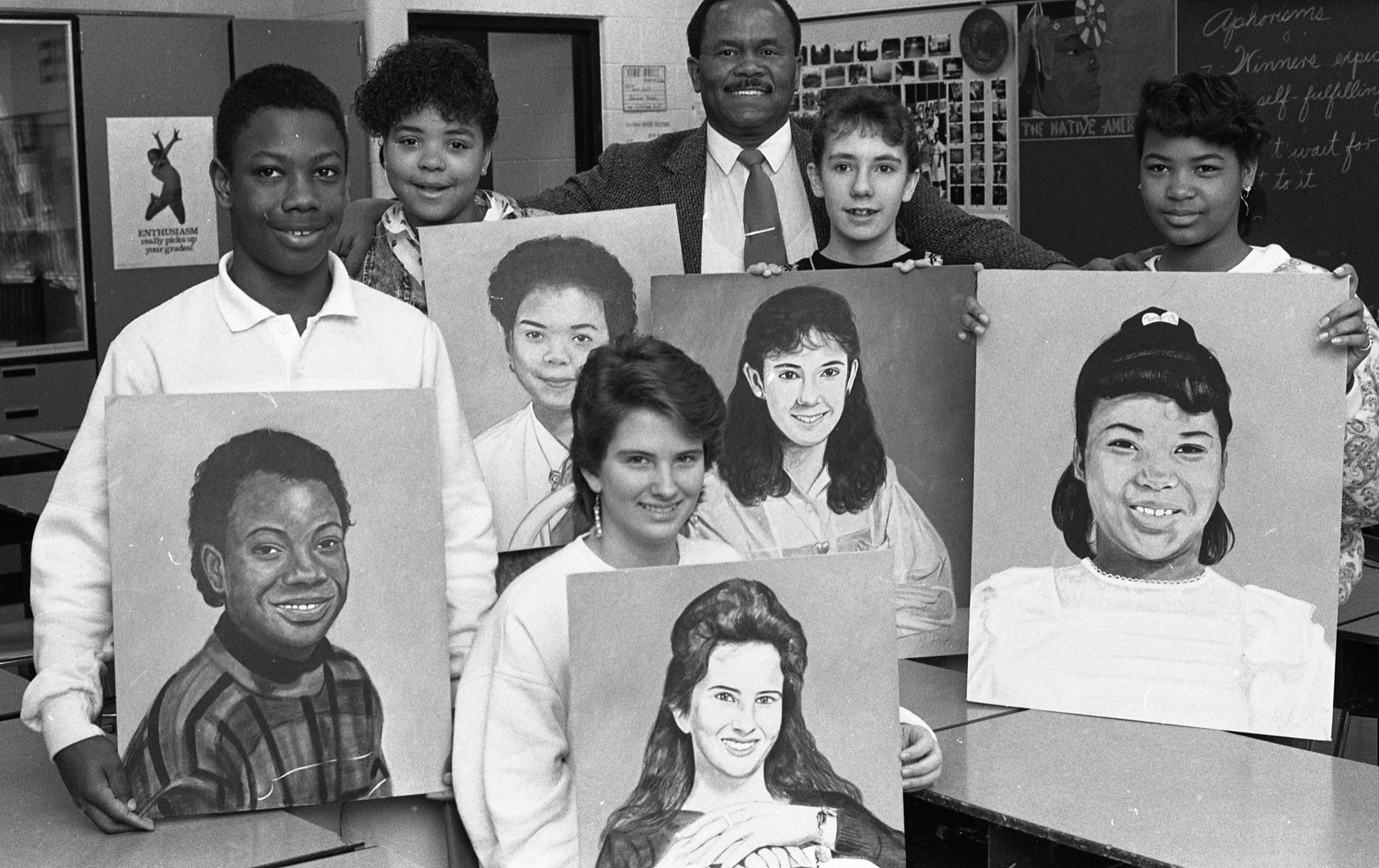 Teacher, Ray Pipkin, With Students & Their Portraits, February 1988 image