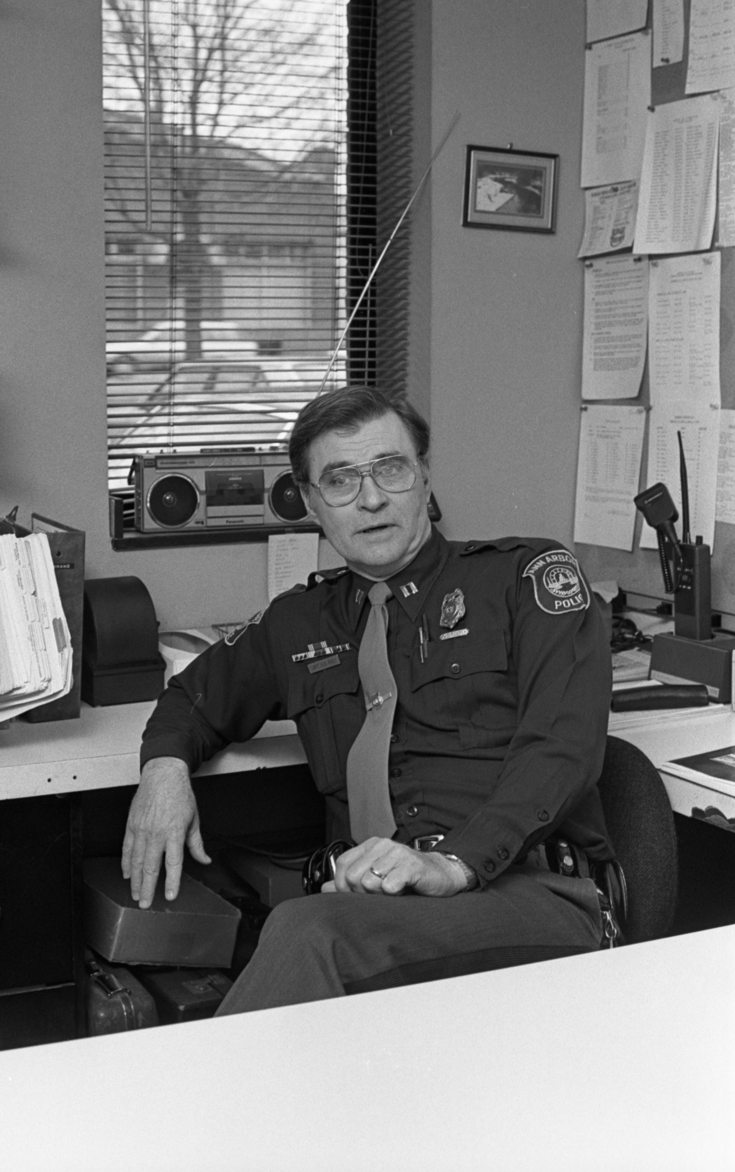 Ann Arbor Police Captain Harold Rady Set To Retire After 25 Years, April 1988 image