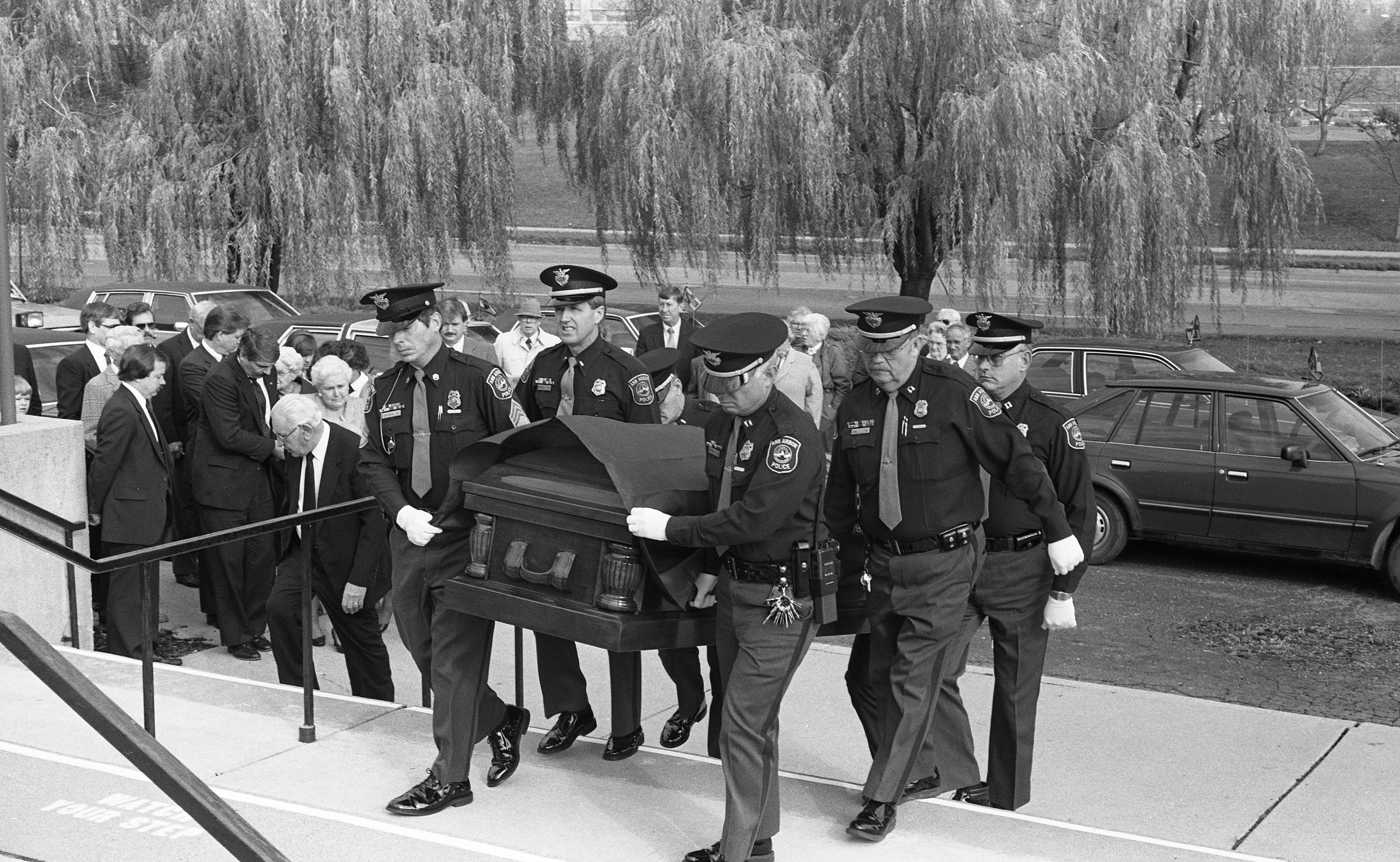 Ann Arbor Police Officers Serve as Pallbearers at Funeral For Ex-Chief Walter E. Krasny, November 1988 image