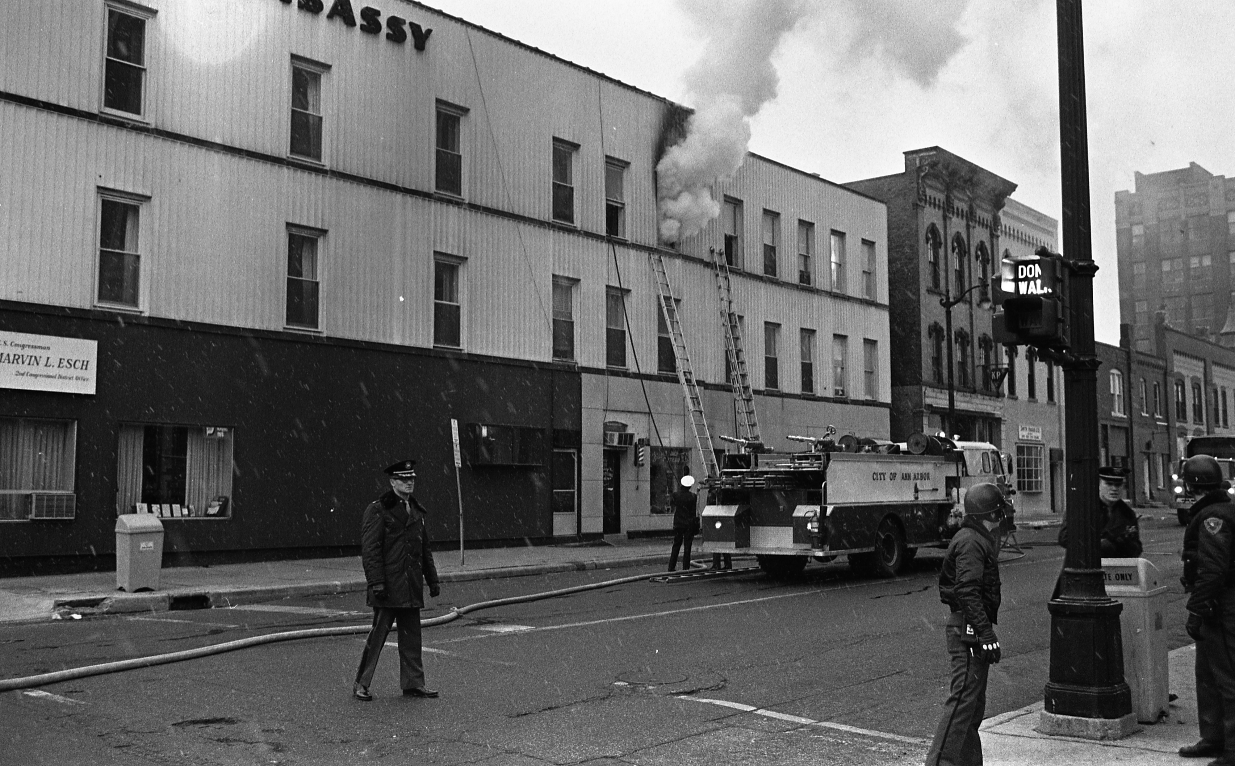 Firefighters At The Scene Of A Fire At The Embassy Hotel, December 1974 image