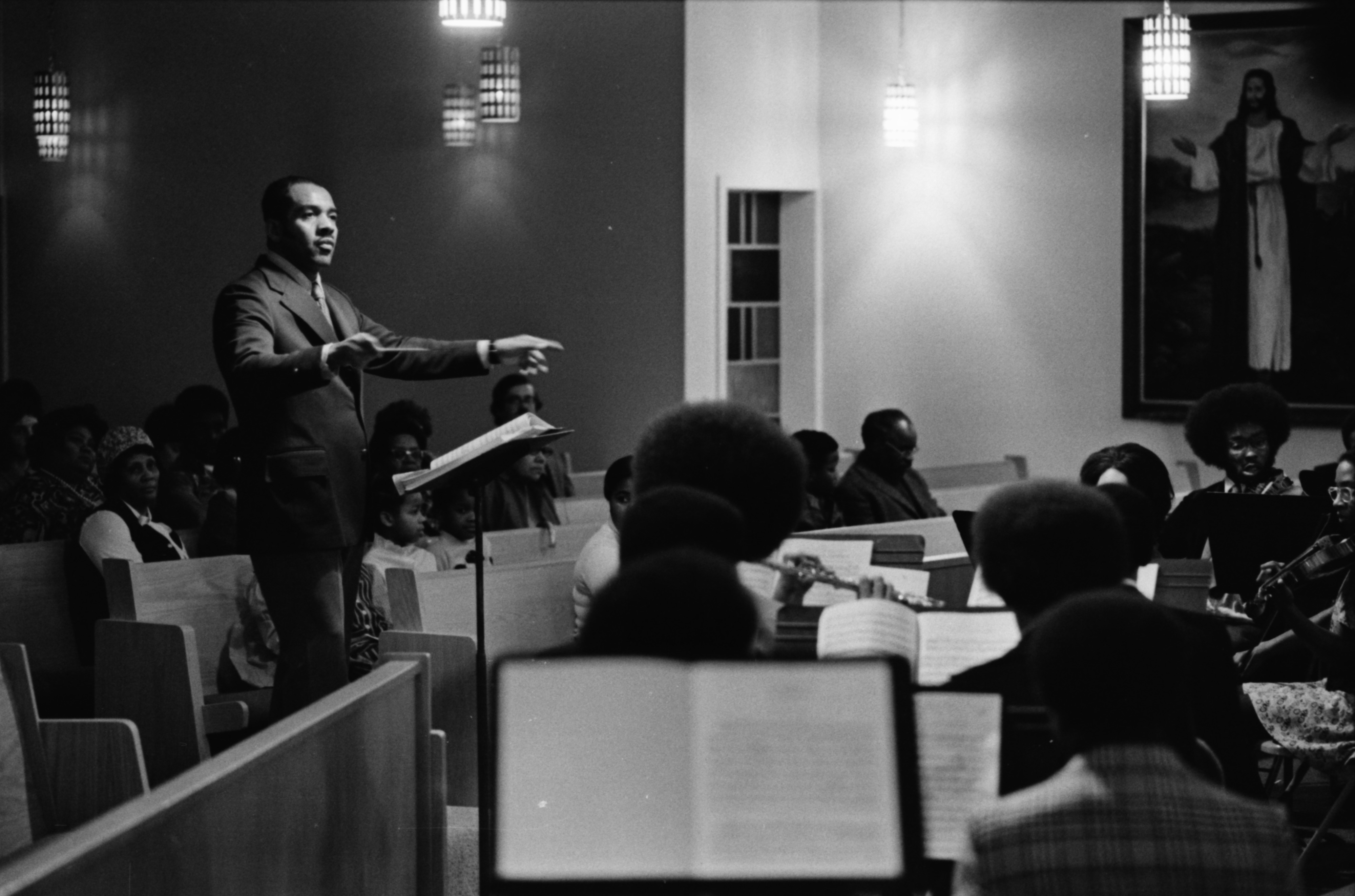 Willis Patterson Conducts Community Chorale and Orchestra at Bethel AME Church, December 1974 image