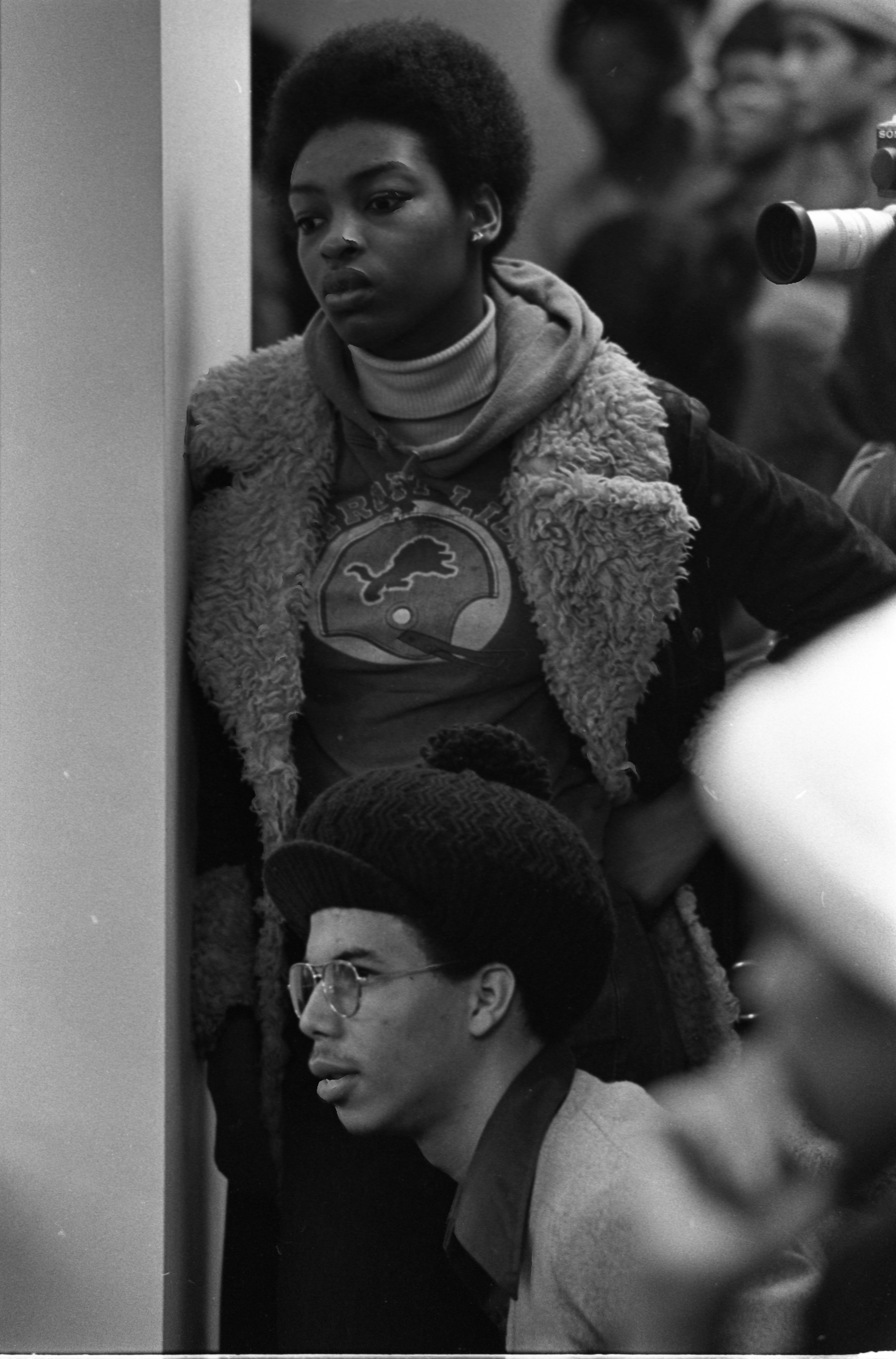 Black United Front Students & Supporters Listen To Speakers At Meeting With Robben Fleming, February 18, 1975 image