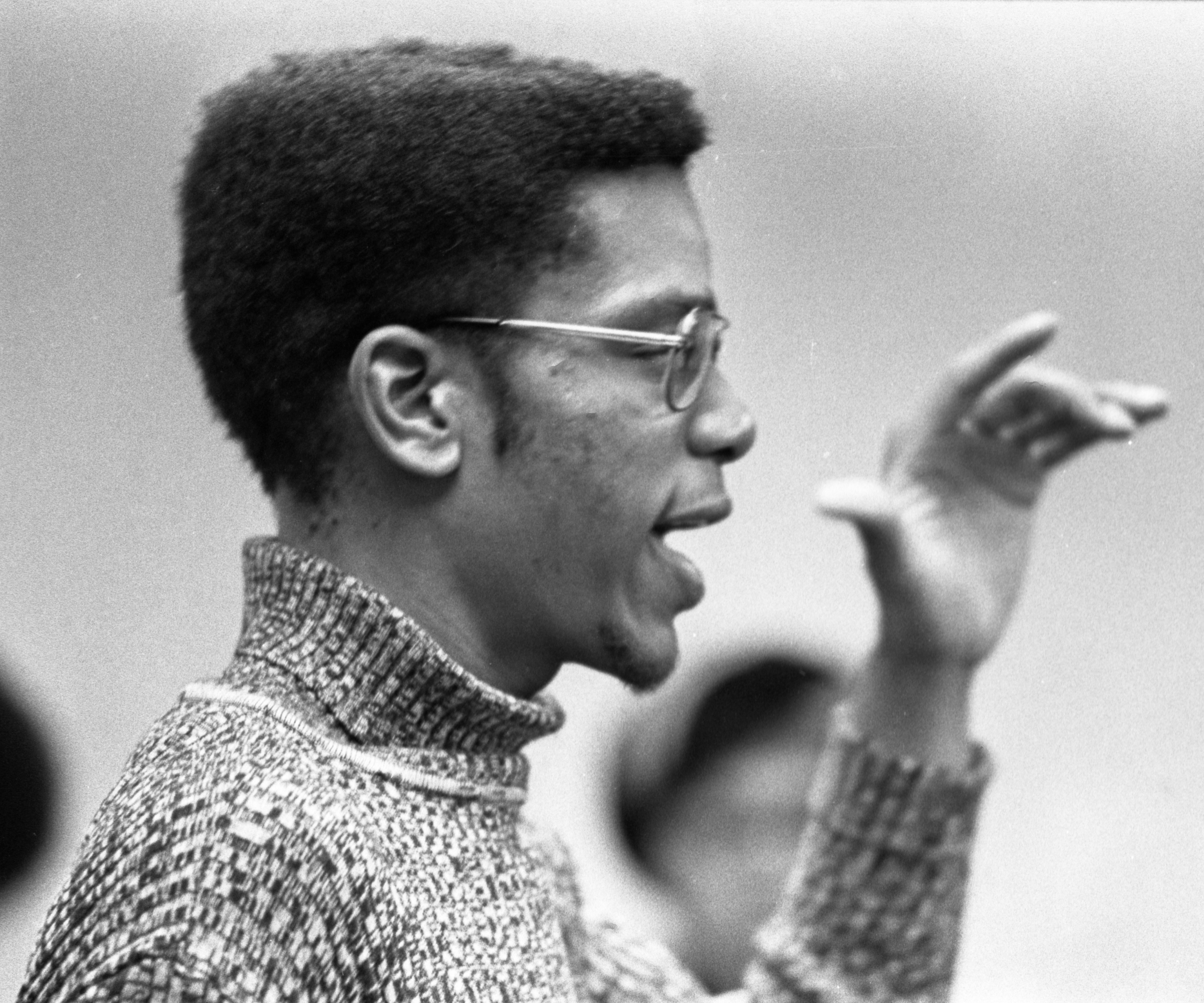 Black United Front Student Speaks At Meeting With Robben Fleming, February 18, 1975 image