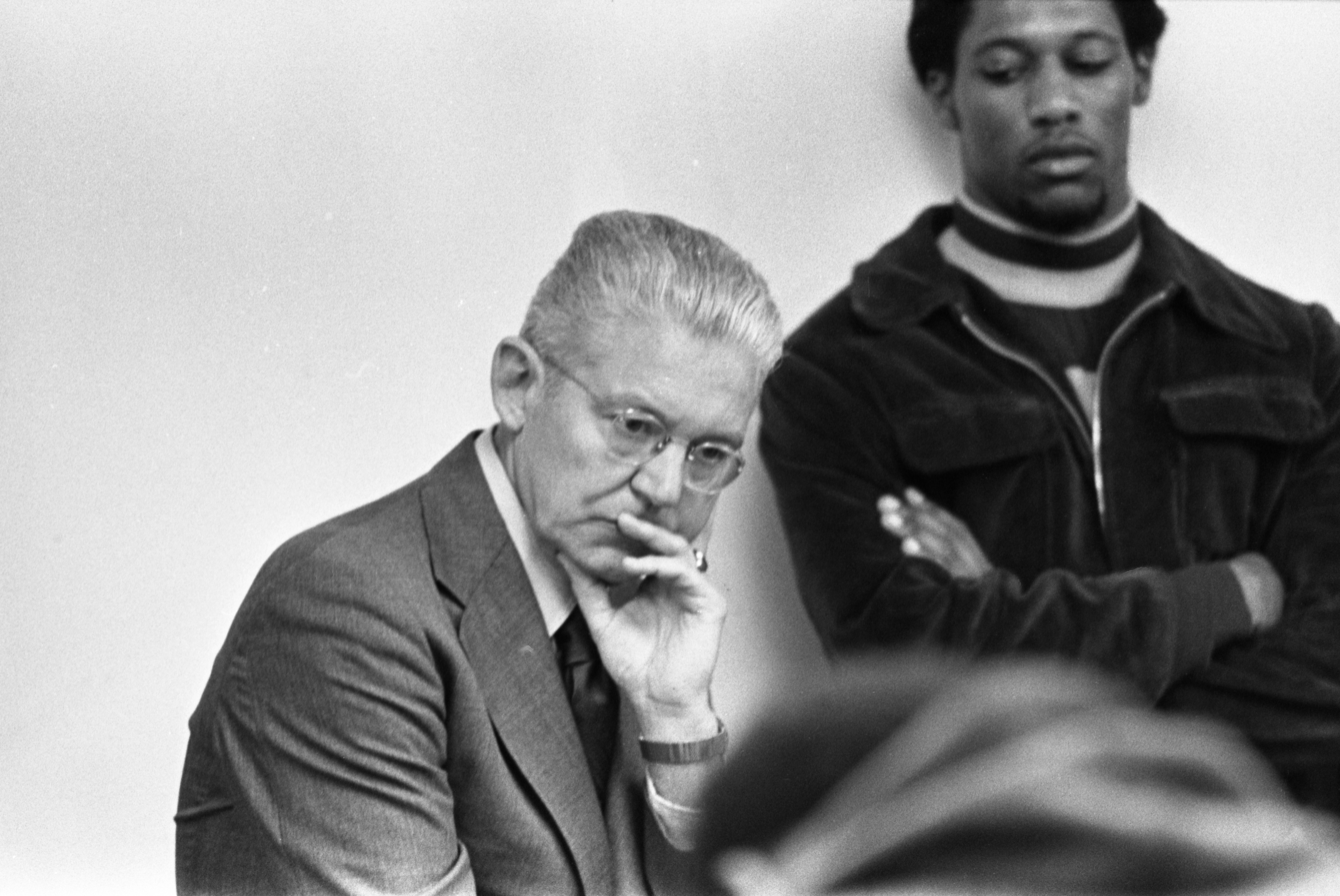 Robben Fleming Listens To Black United Front Students & Supporters, February 18, 1975 image