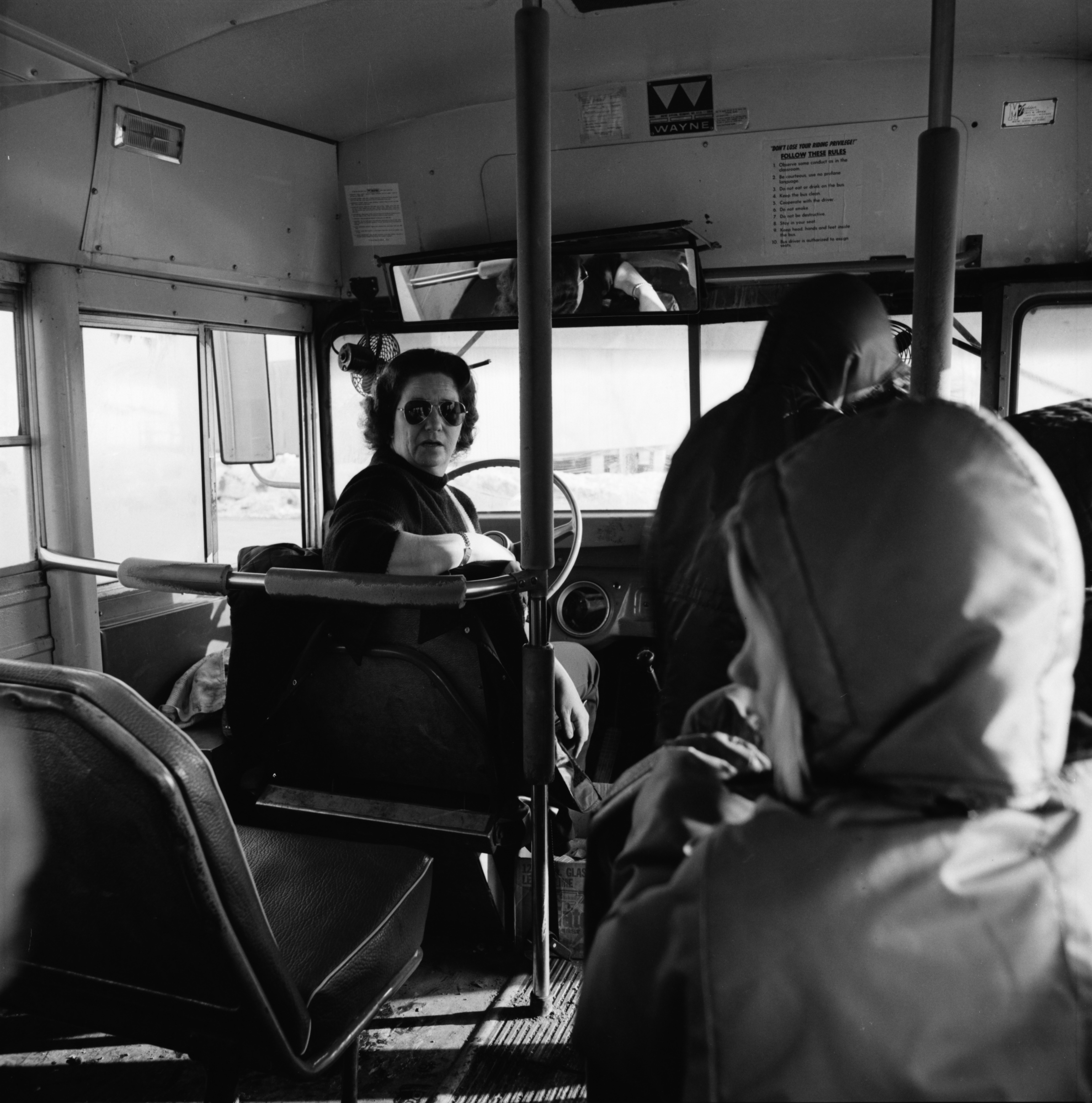 Bus Driver Shirley Duranso Lets Out Passengers, March 1975 image