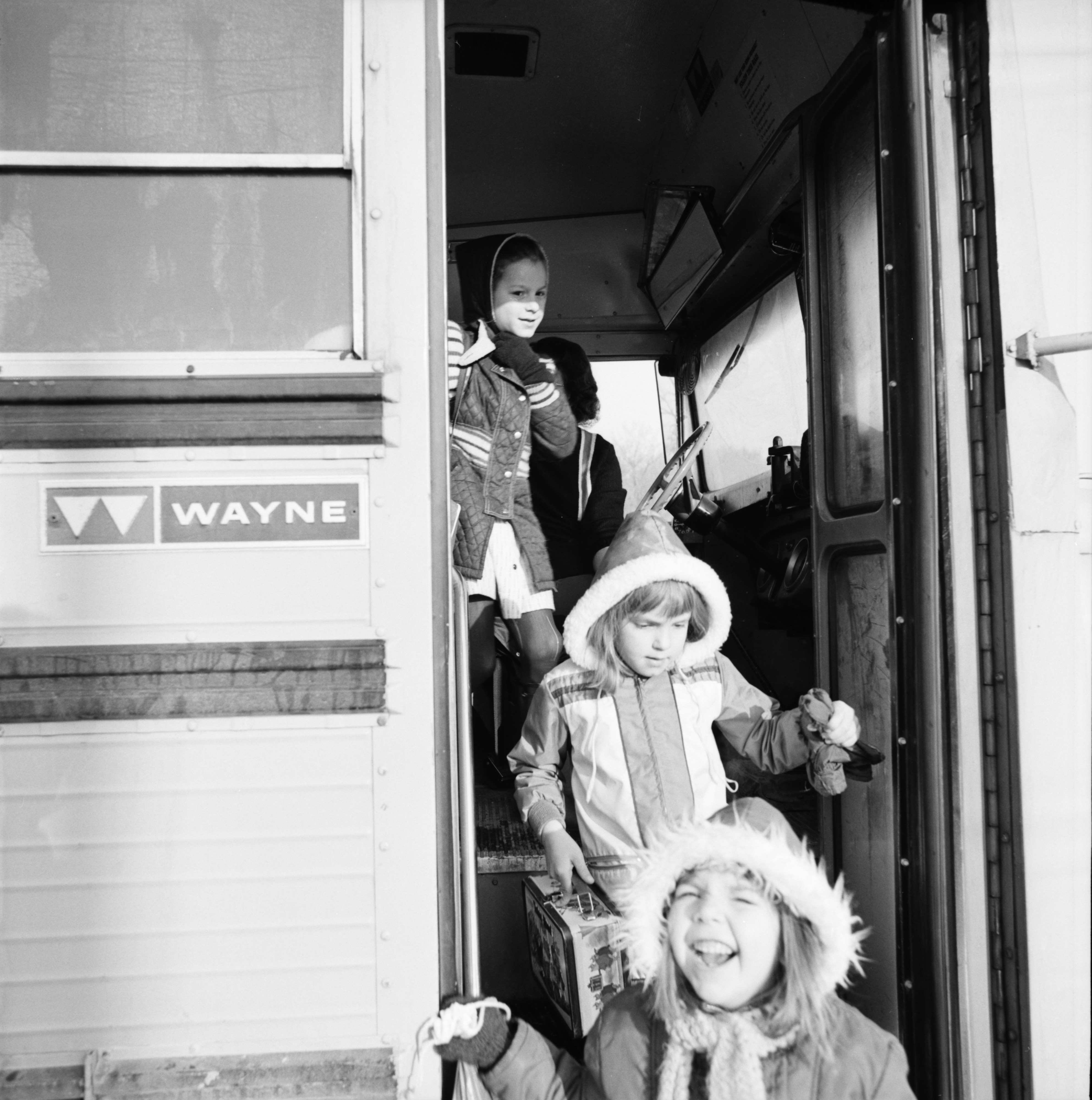 Young Students Getting Off the Bus, March 1975 image