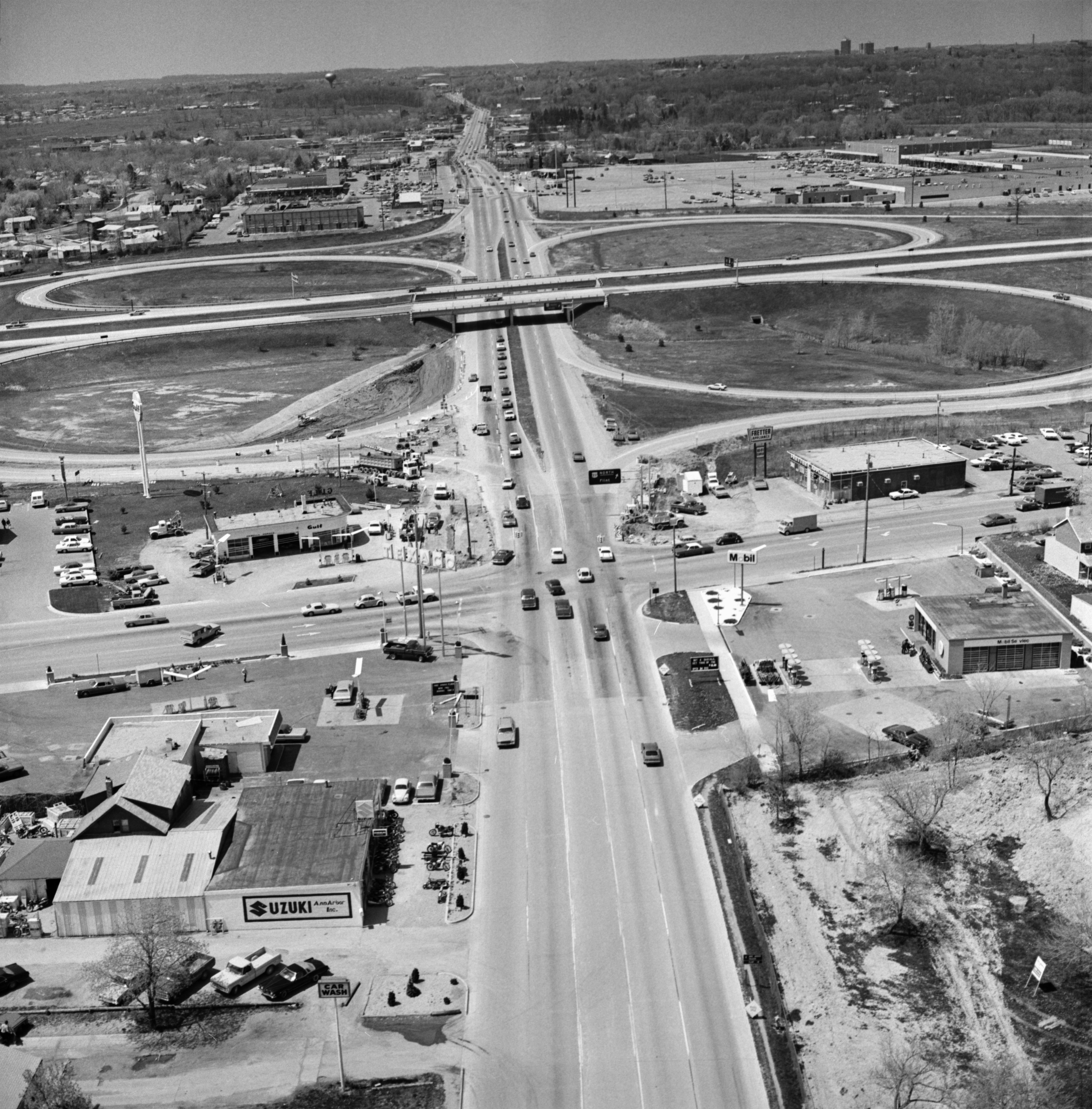 Aerial Photograph of Intersection of Washtenaw Ave., Carpenter Rd., & Hogback Rd., May 1975 image