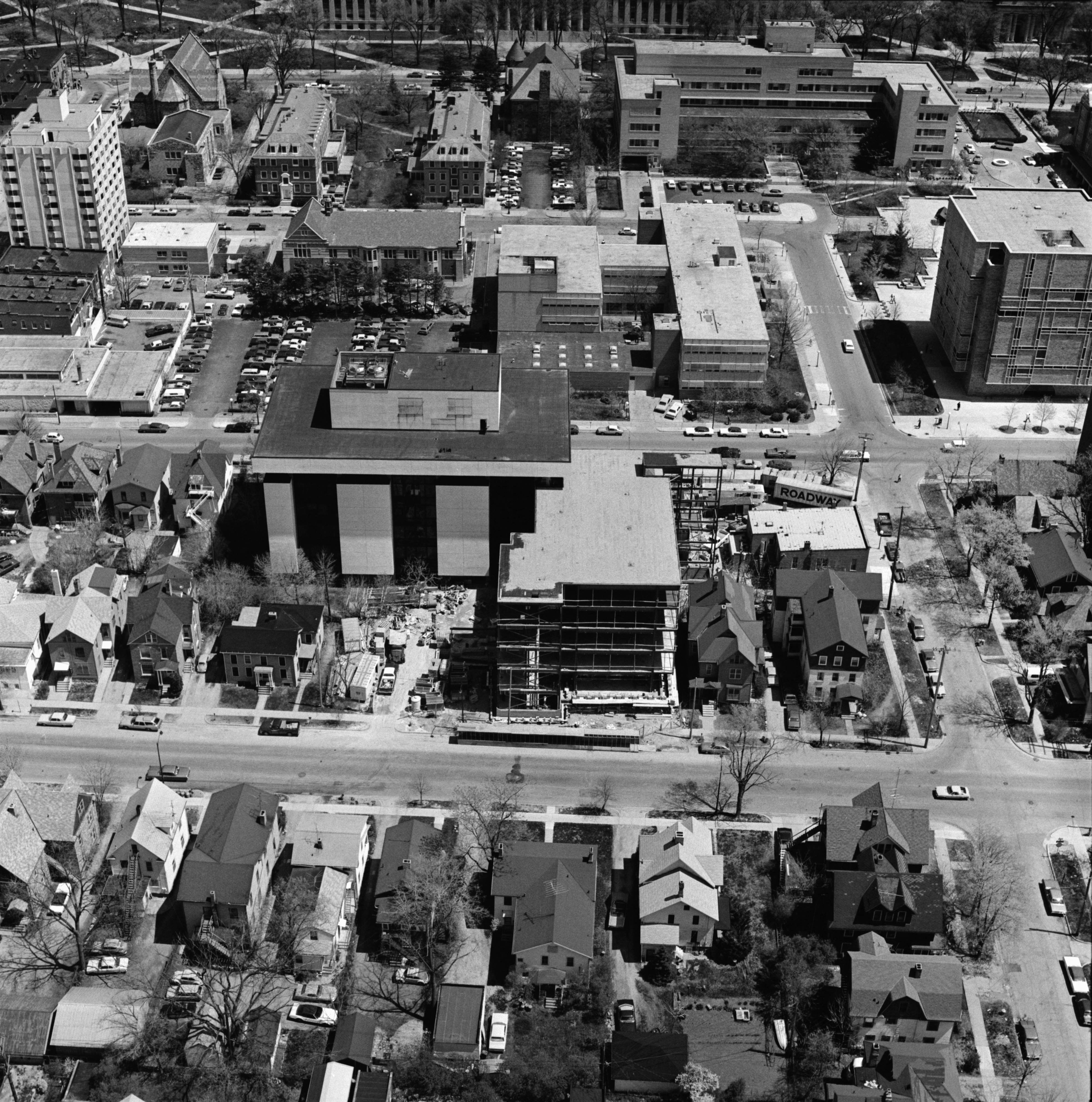 Aerial Photograph of Social Research Institute Addition, University of Michigan, May 1975 image
