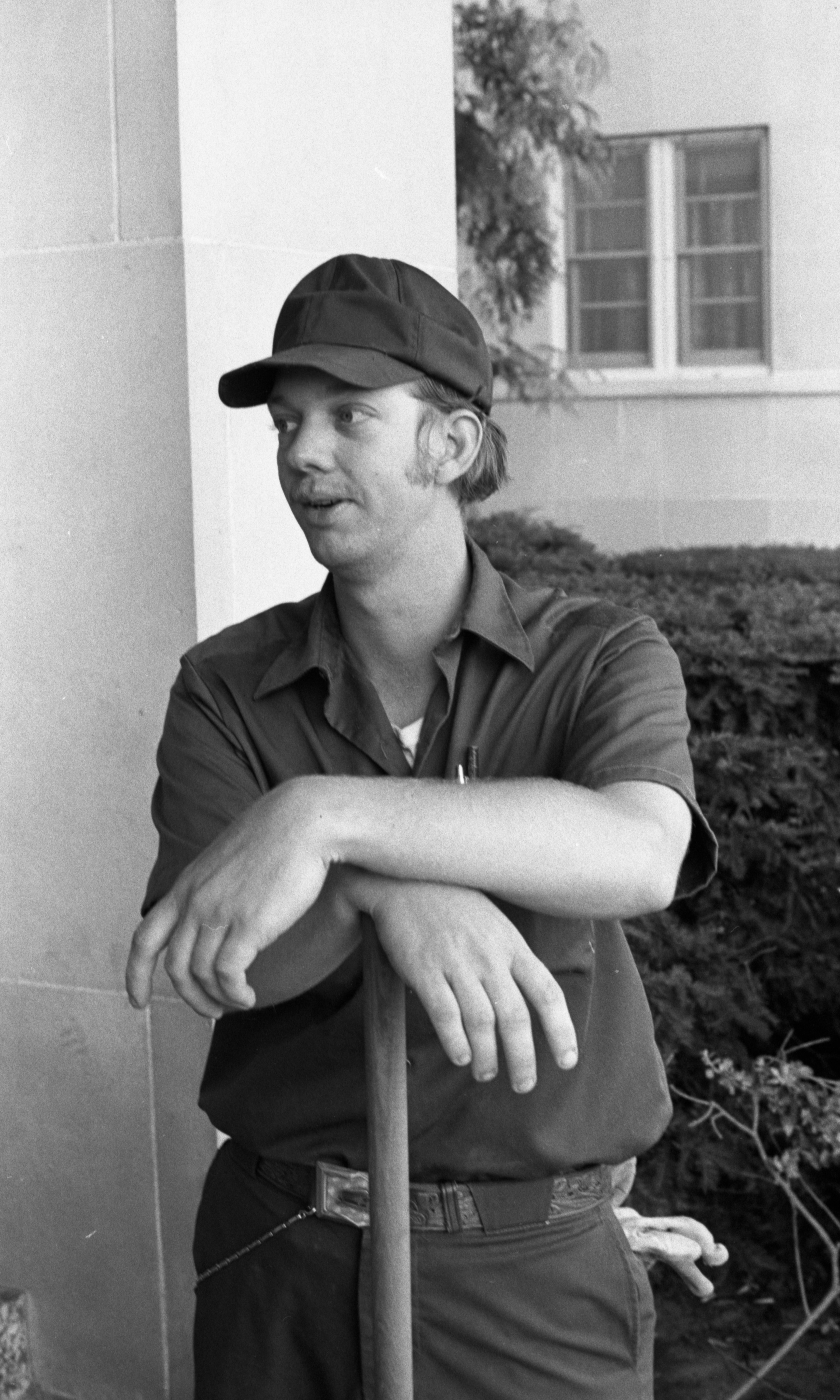 Michael Shank, Groundsman At Ann Arbor's VA Hospital Reacting To Investigation Of VA Nurses, June 1976 image