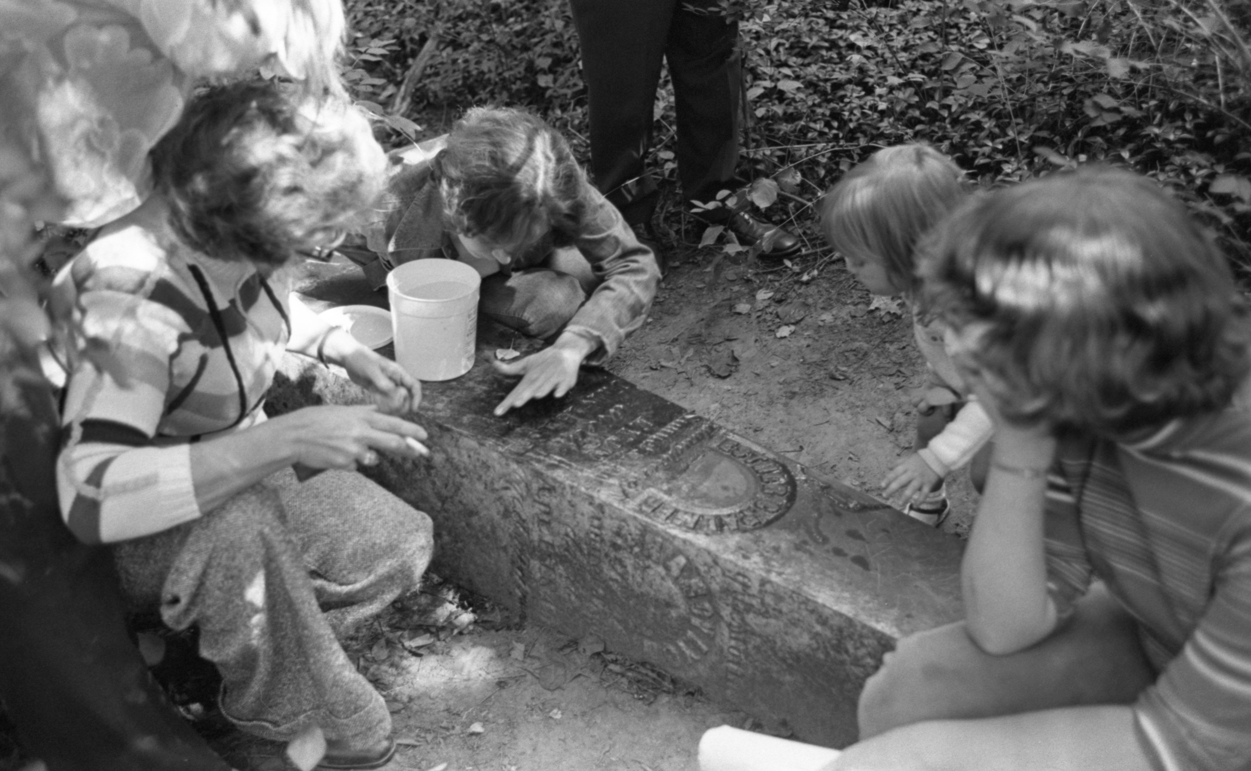 Maxine Francisco & Helpers Clean A Tombstone In Scio Cemetery, August 1976 image