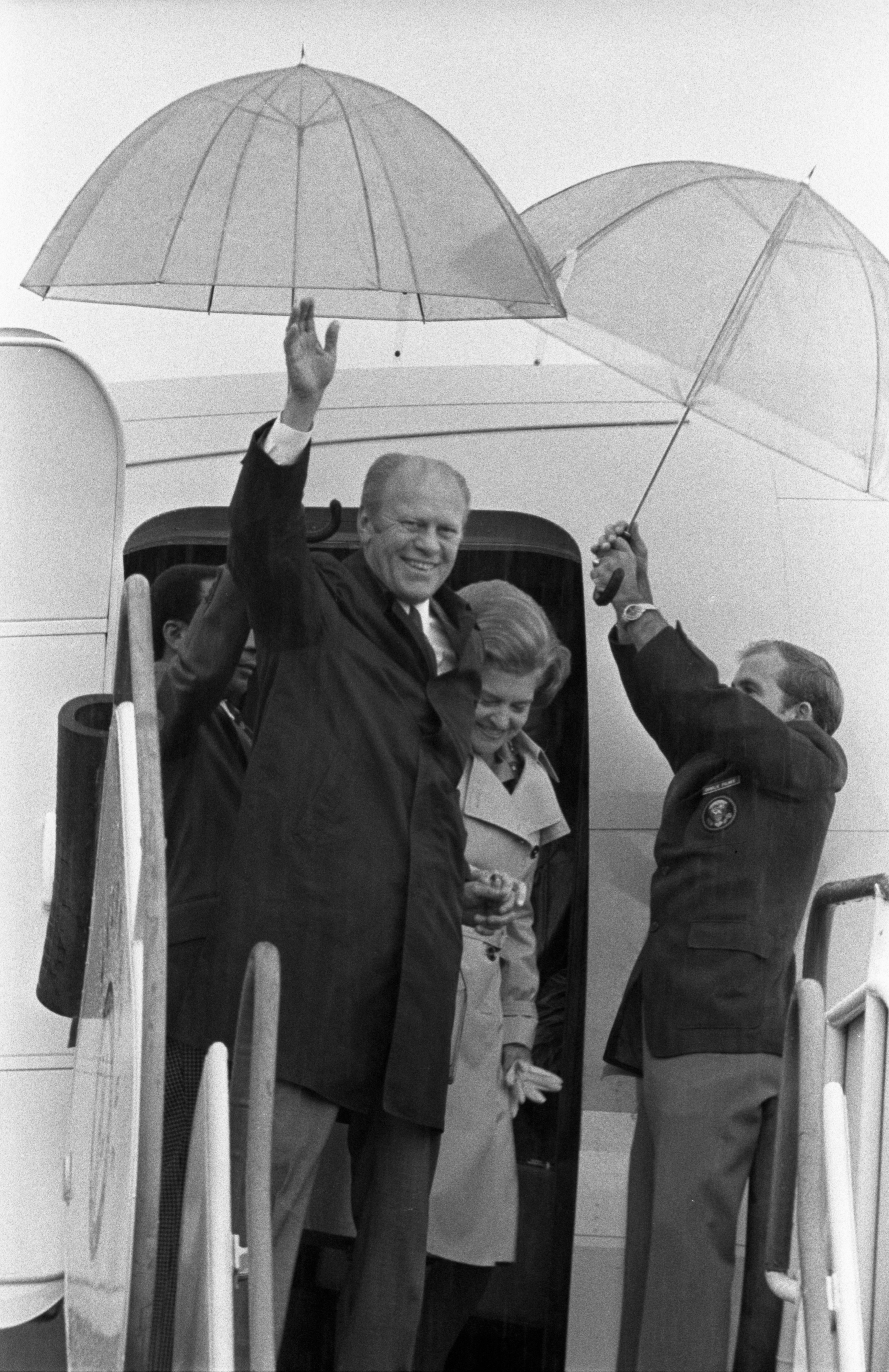 President Gerald Ford & Betty Ford Exit Plane At Willow Run Airport, September 16, 1976 image