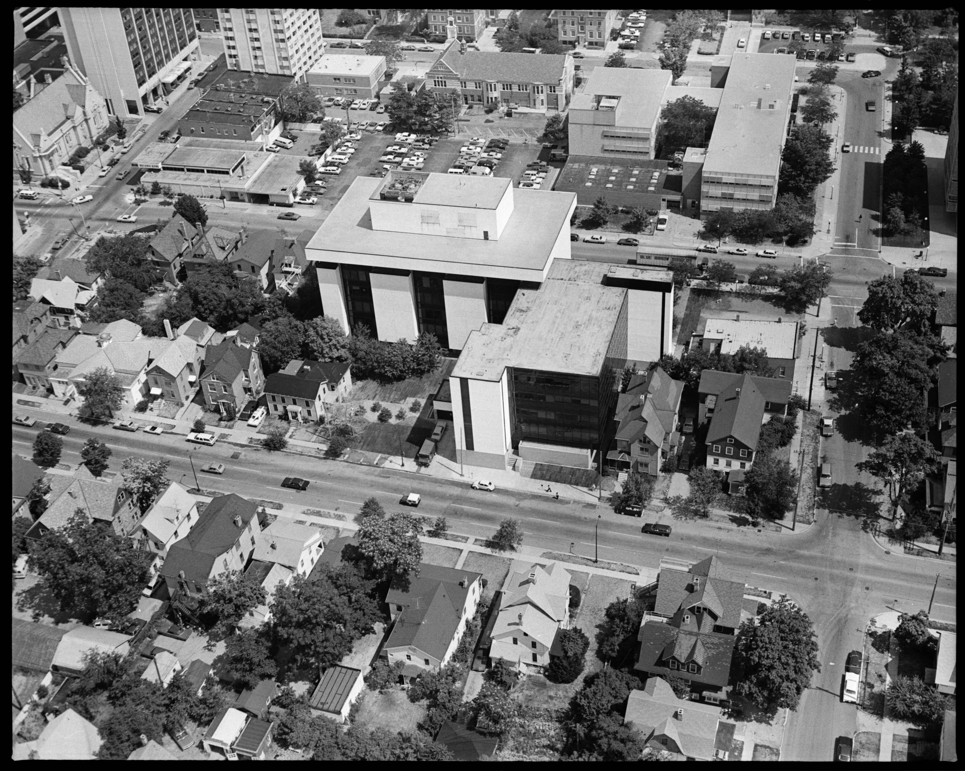 Aerial Photograph of Institute for Social Research Building Addition, University of Michigan, September 1976 image