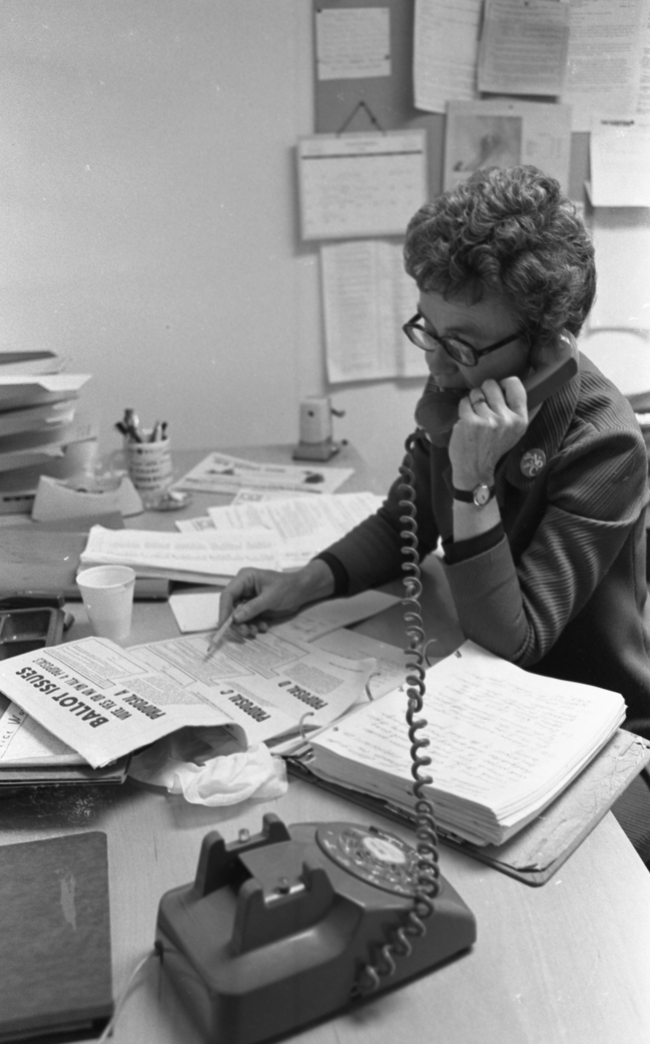 Helen West, League Of Women Voters President, Answers An Election Question, November 1976 image