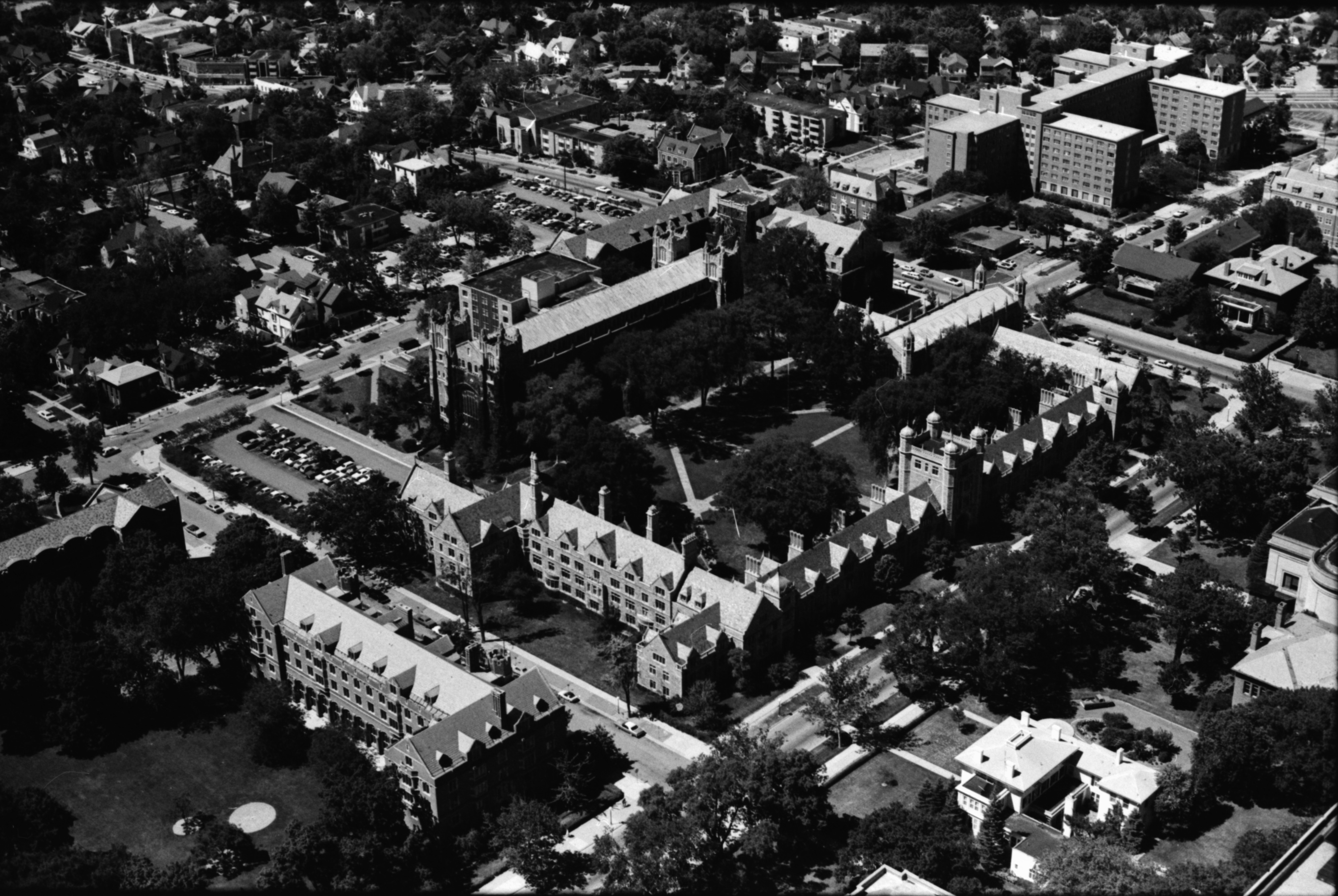 Aerial Photograph of University of Michigan Central Campus, Law Quad, July 1977 image