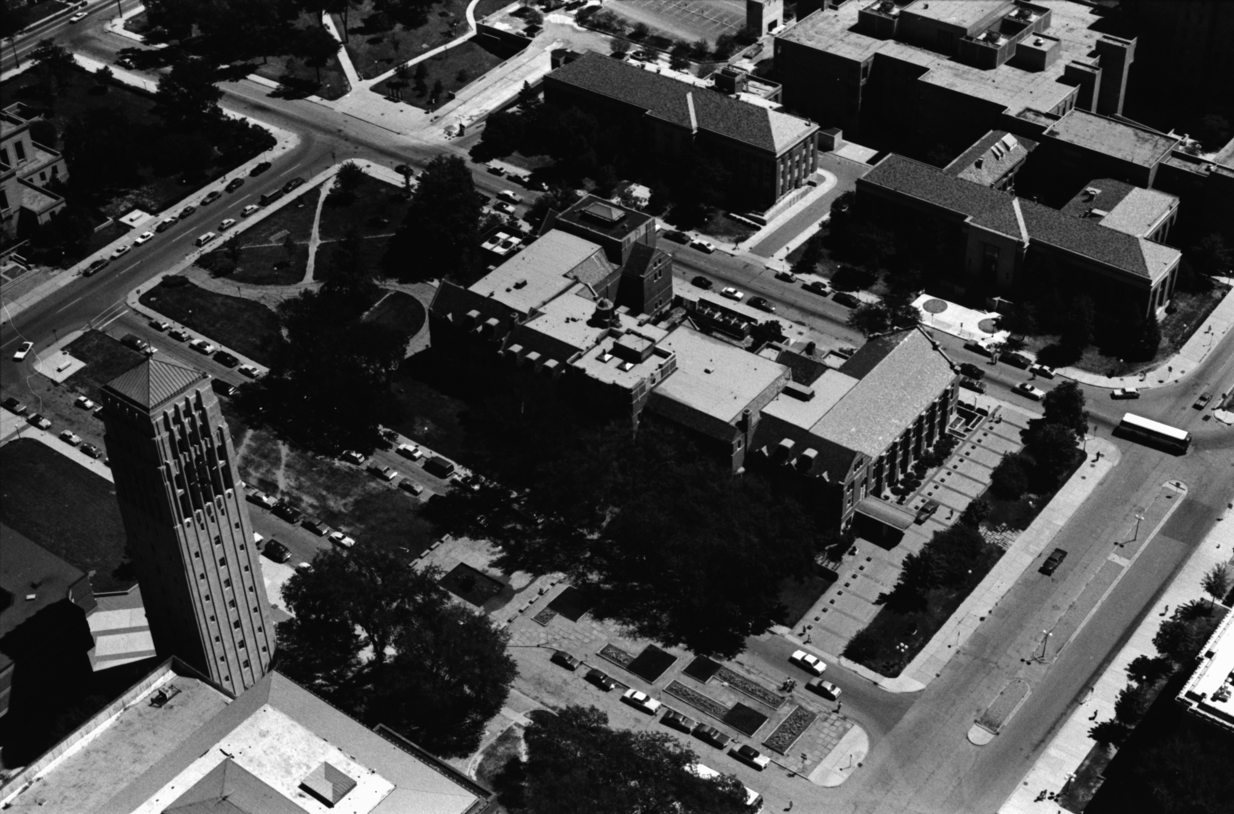 Aerial Photograph of Michigan League and Burton Tower, University of Michigan, July 1977 image